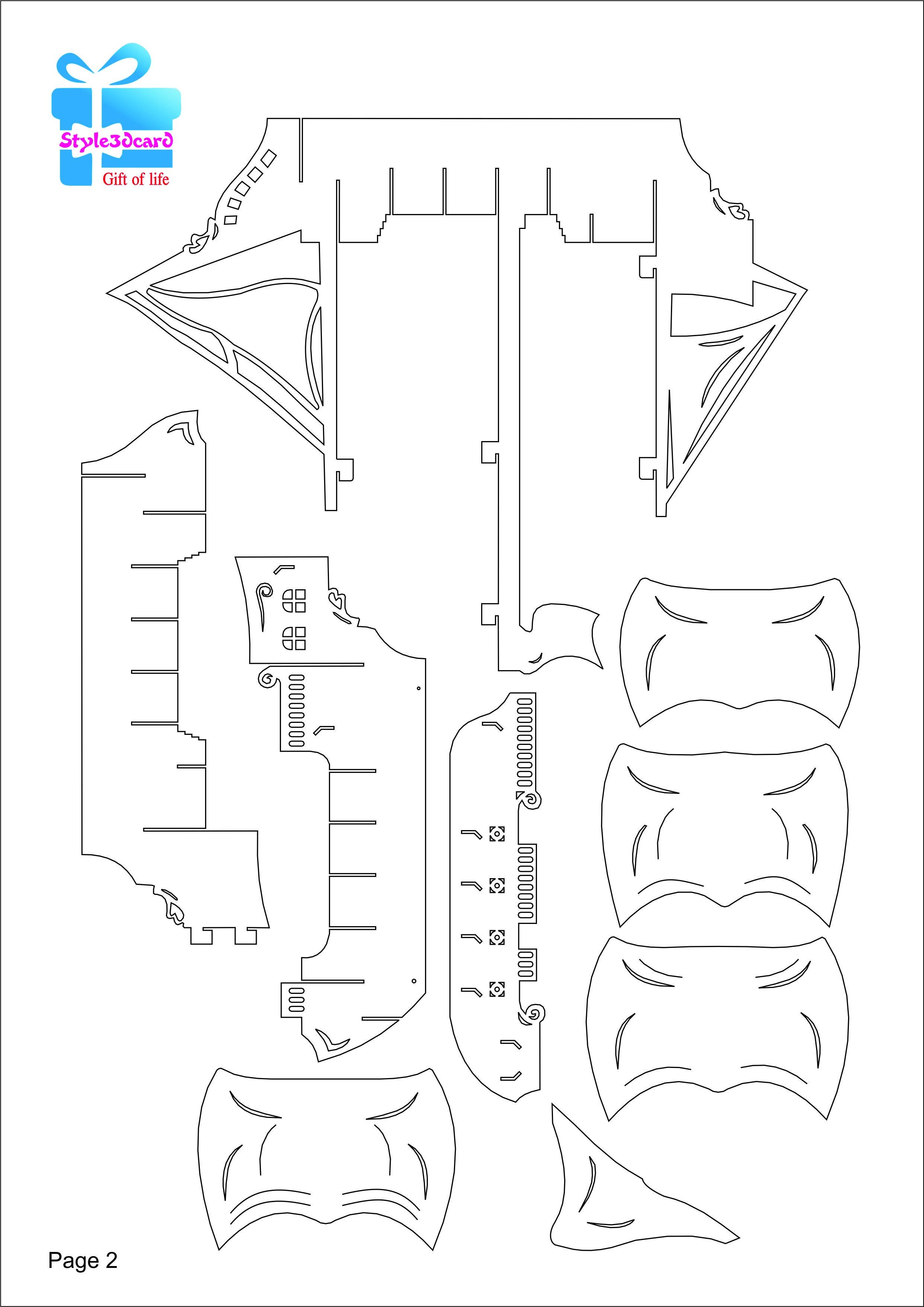 Pirate Ship 3D Pop-Up /kirigami Pattern 3   Pop-Up I Kirigami - Free Printable Kirigami Pop Up Card Patterns