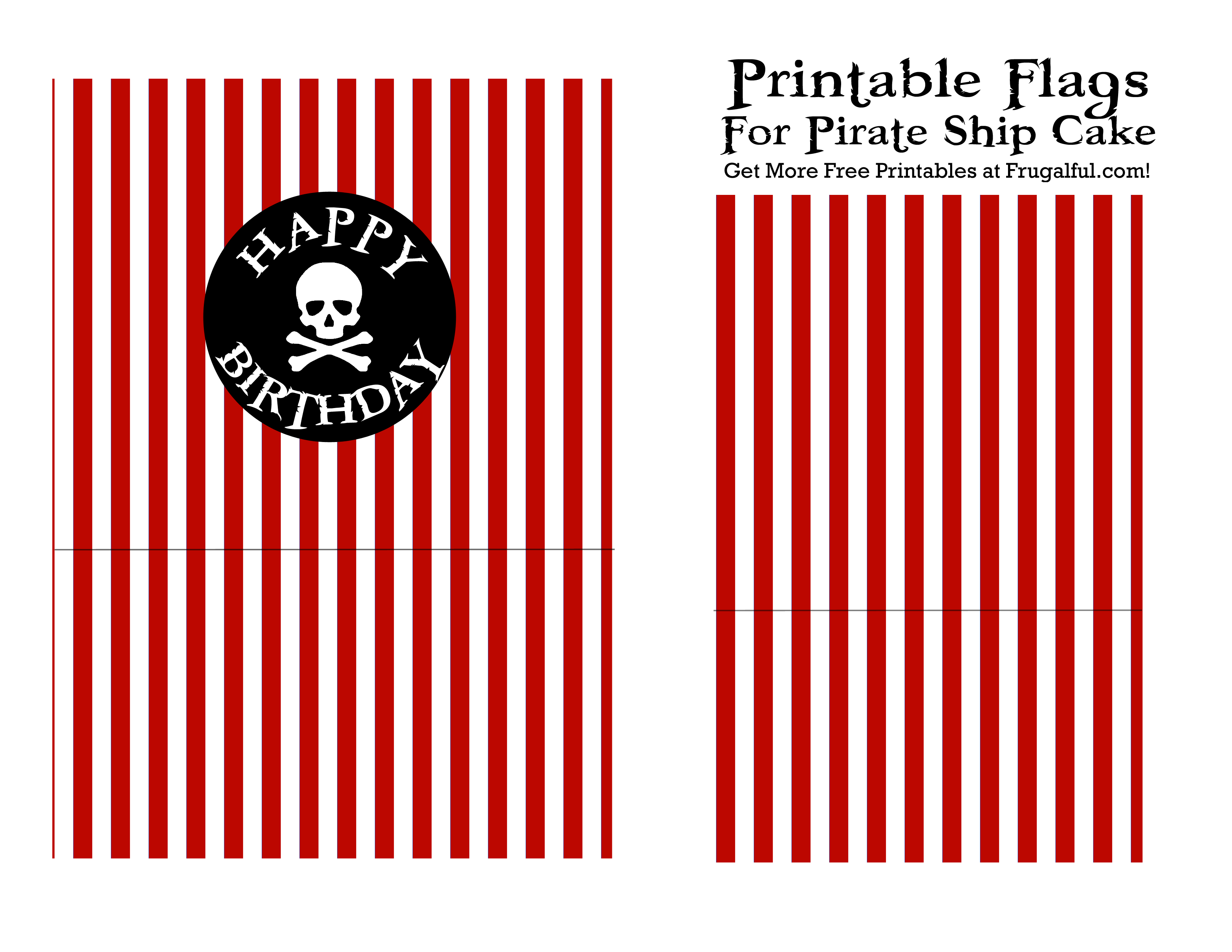 Pirate-Ship-Flag-Printable-Red | Birthday Party Ideas | Pirate Ship - Free Printable Pirate Cupcake Toppers