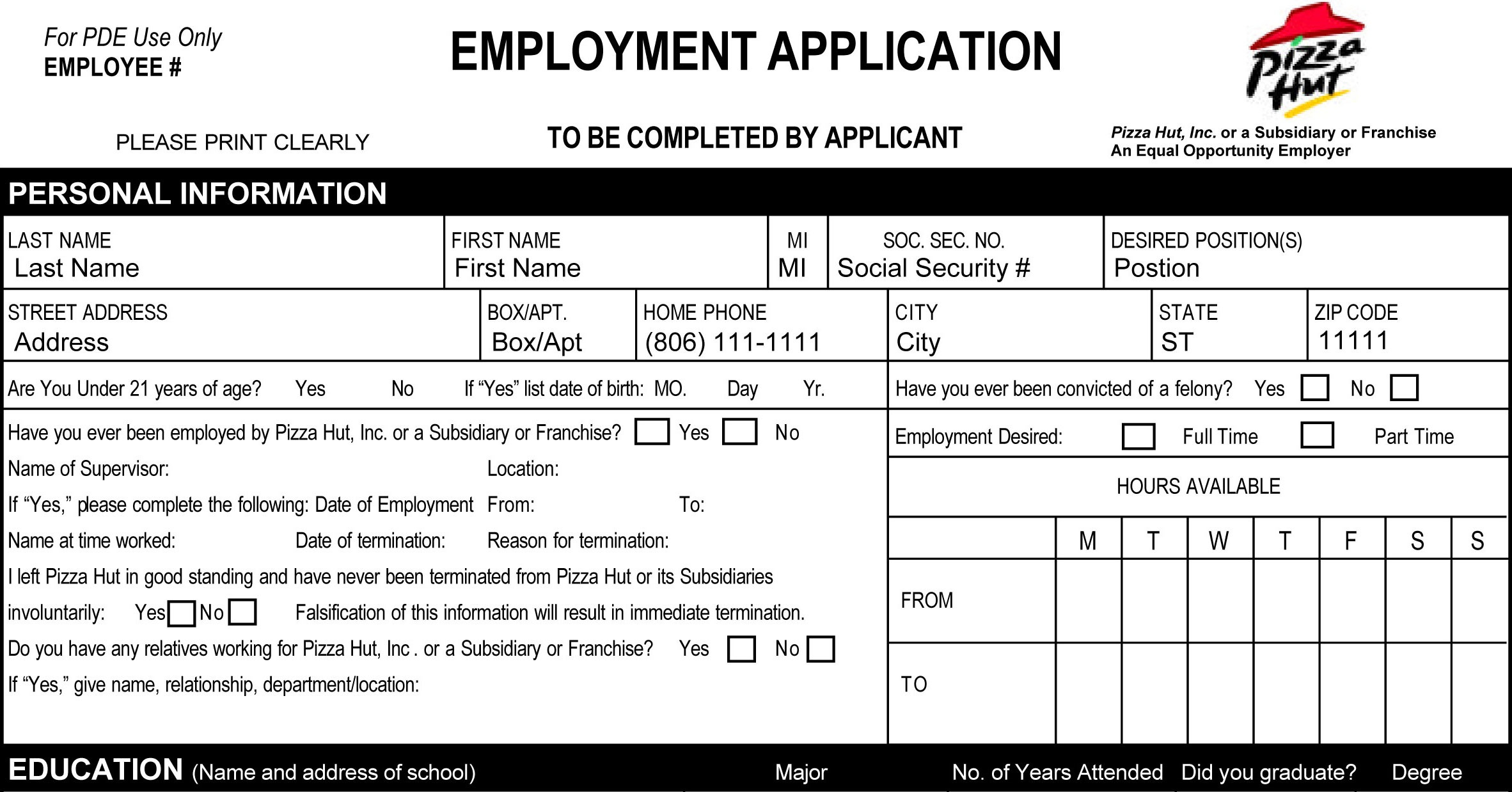 Pizza Hut Job Application - Printable Employment Pdf Forms - Free Printable Taco Bell Application