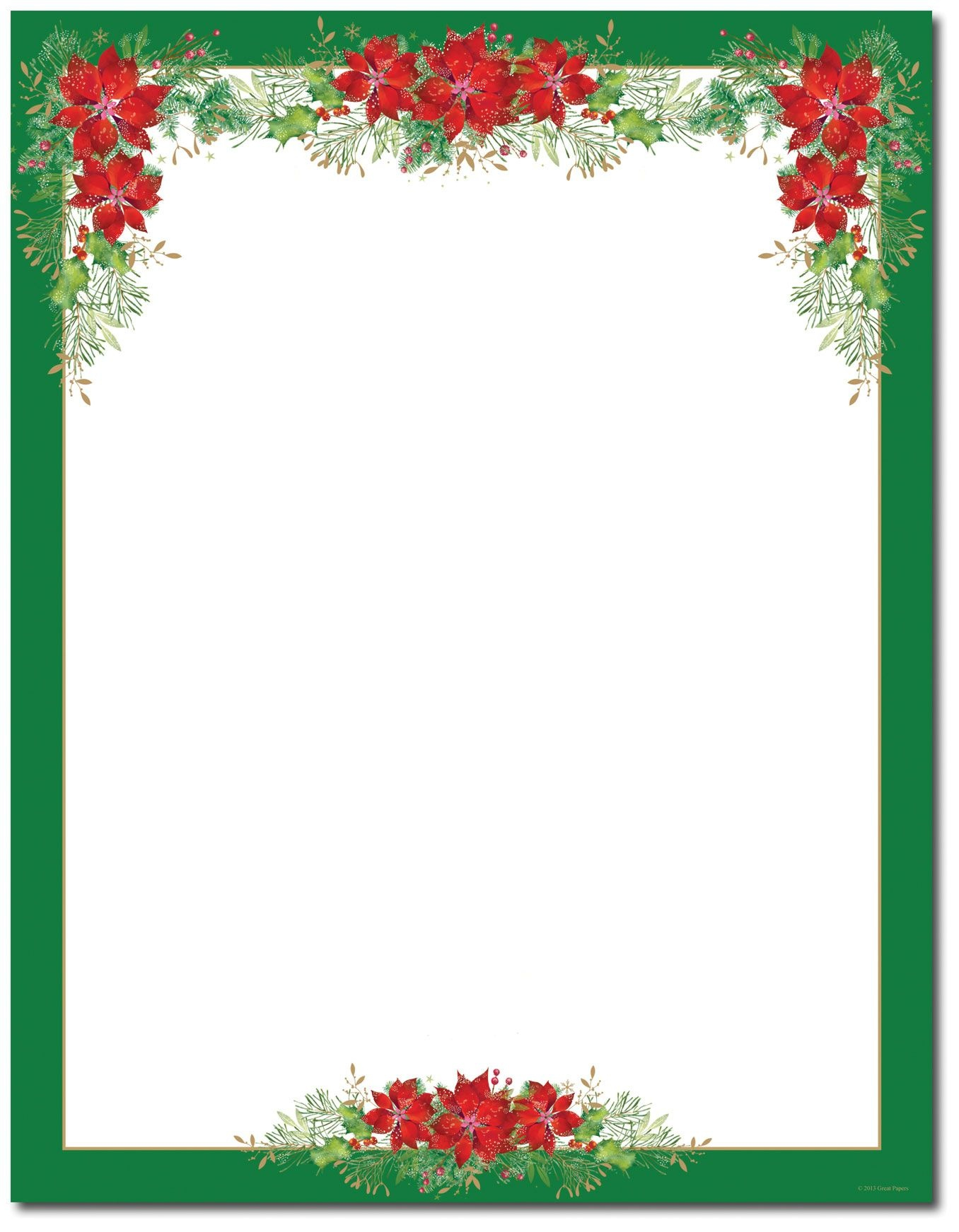 Poinsettia Valance Letterhead | Holiday Papers | Christmas Border - Free Printable Christmas Stationary Paper