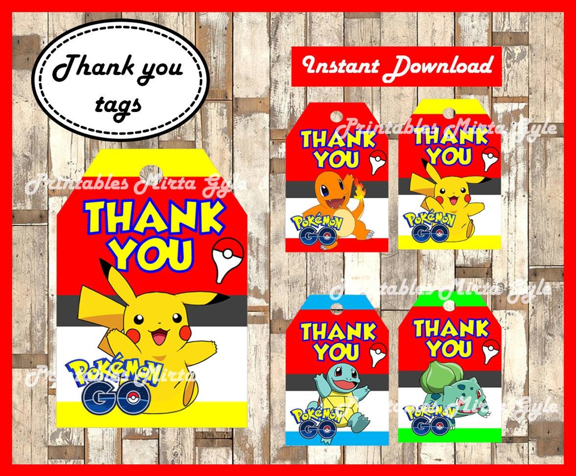 Pokemon Thank You Tags Printable Pokemon Party Thank You | Etsy - Free Printable Pokemon Thank You Tags