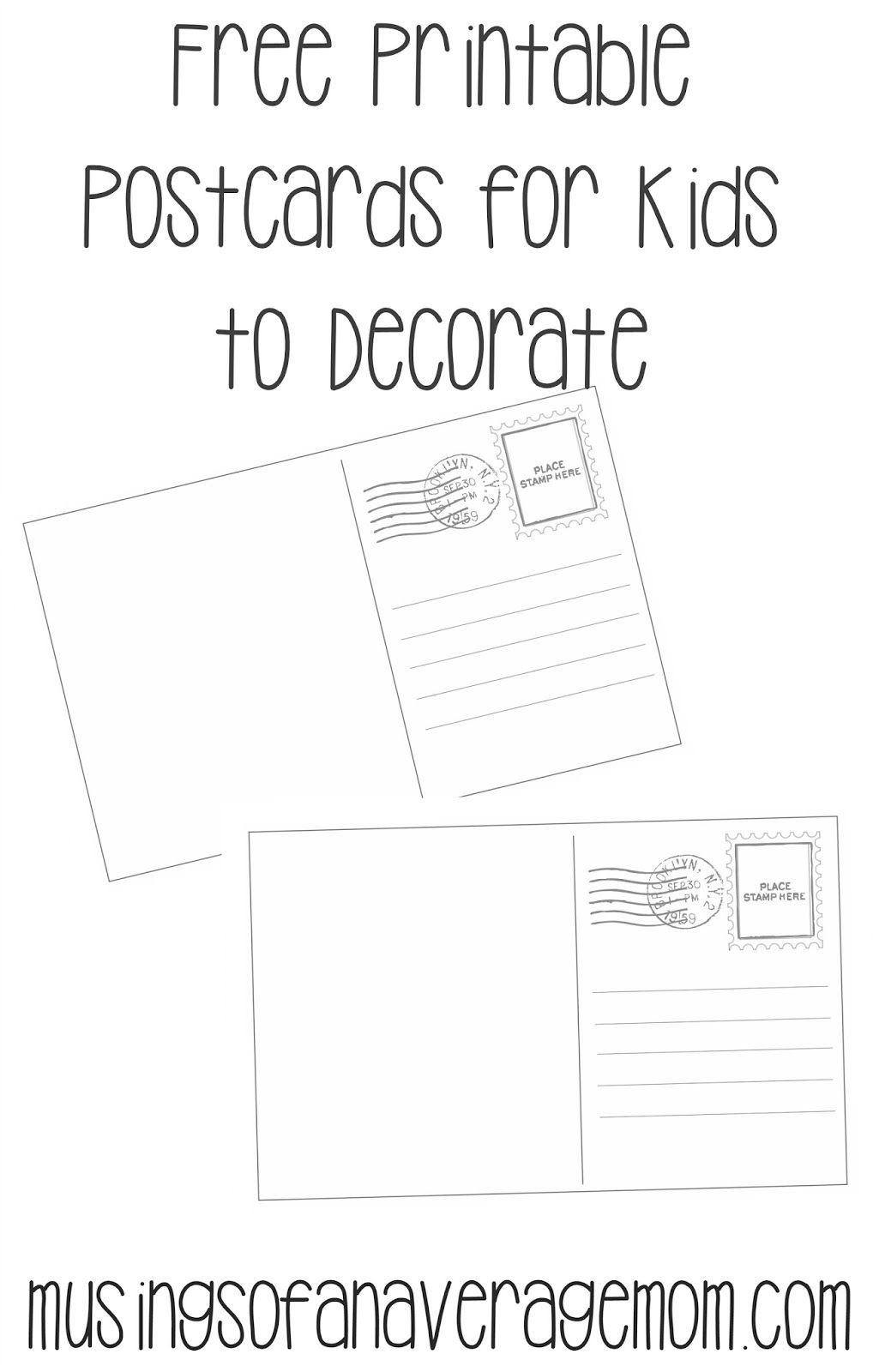 Postcard Templates   Printable Worksheets   Printable Postcards - Free Printable Postcards