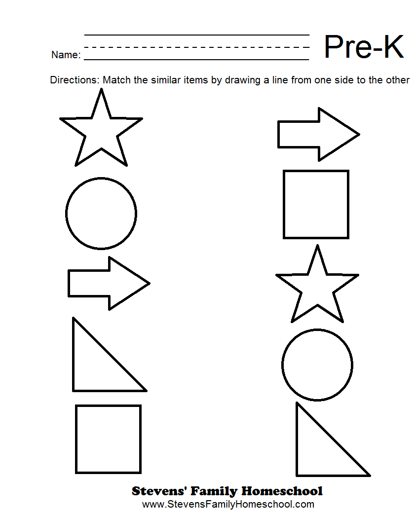 Pre-K Matching Worksheets   Kids   Pre K Worksheets, Pre K Math - Free Printable Pre K Activities