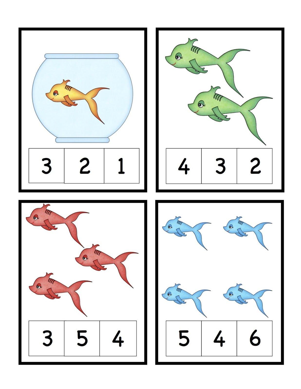 Preschool Printables: Cute Fish Number Printable (Seuss) | Sea - Free Printable Dr Seuss Math Worksheets