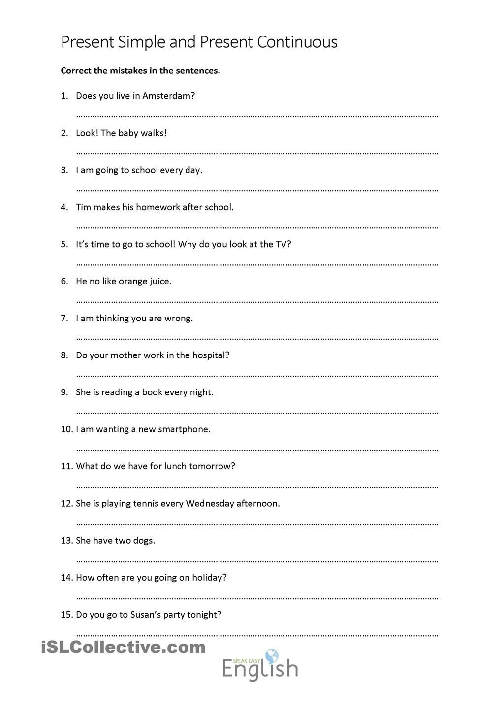 Present Simple/continuous Error Correction With Answers   Teaching - Free Printable Sentence Correction Worksheets