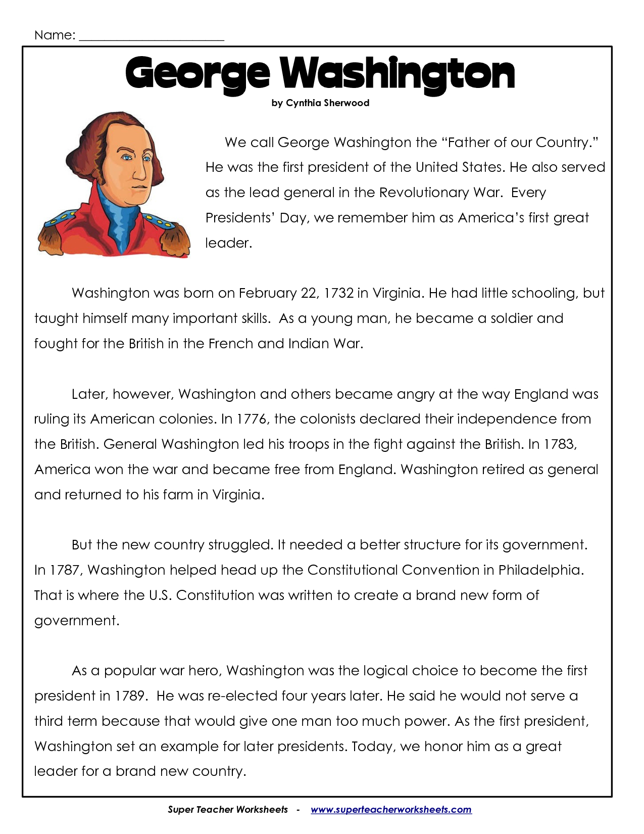 President's Day Coloring Worksheet   George Washington Worksheets - Free Printable President Worksheets