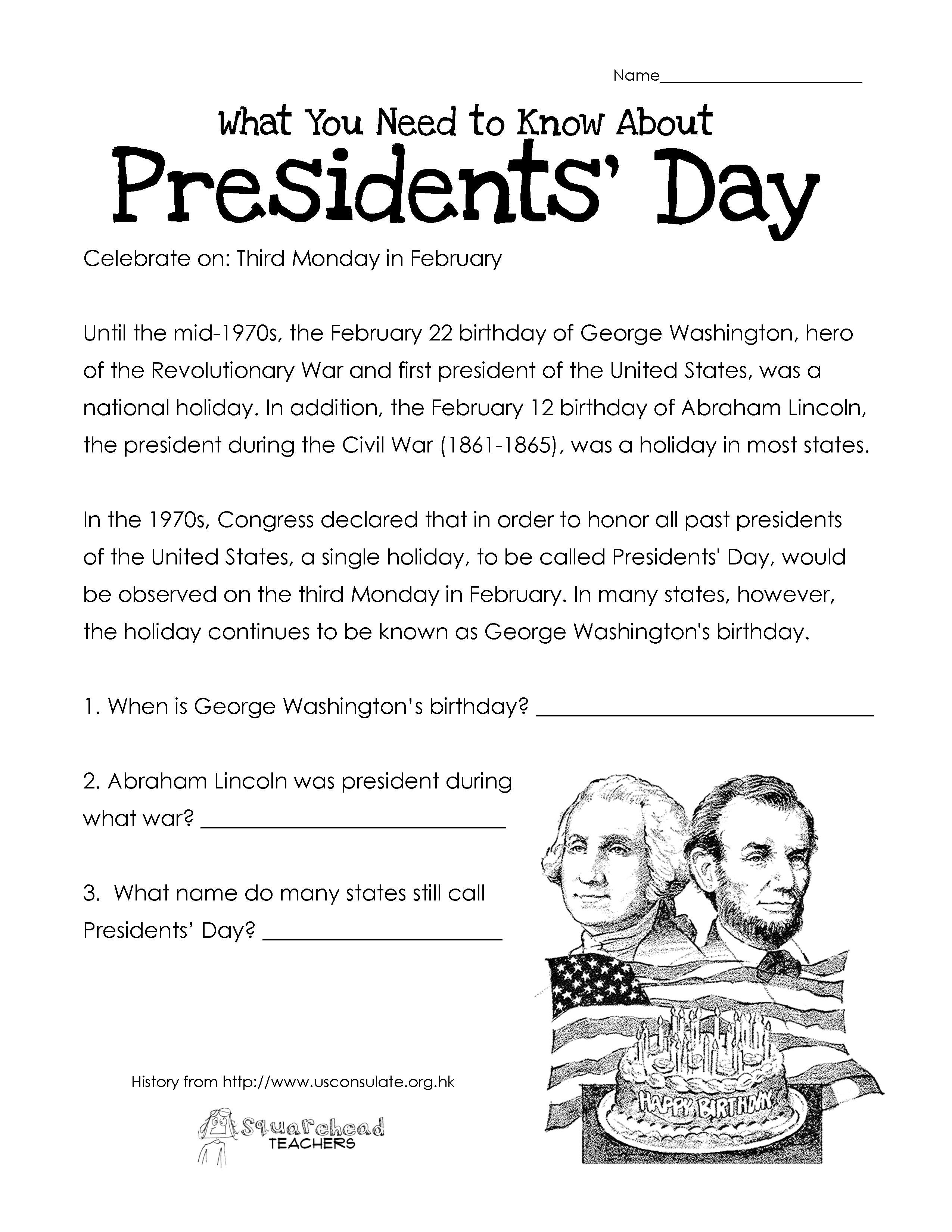 Presidents' Day (Free Worksheet) Updated   Squarehead Teachers - Free Printable President Worksheets
