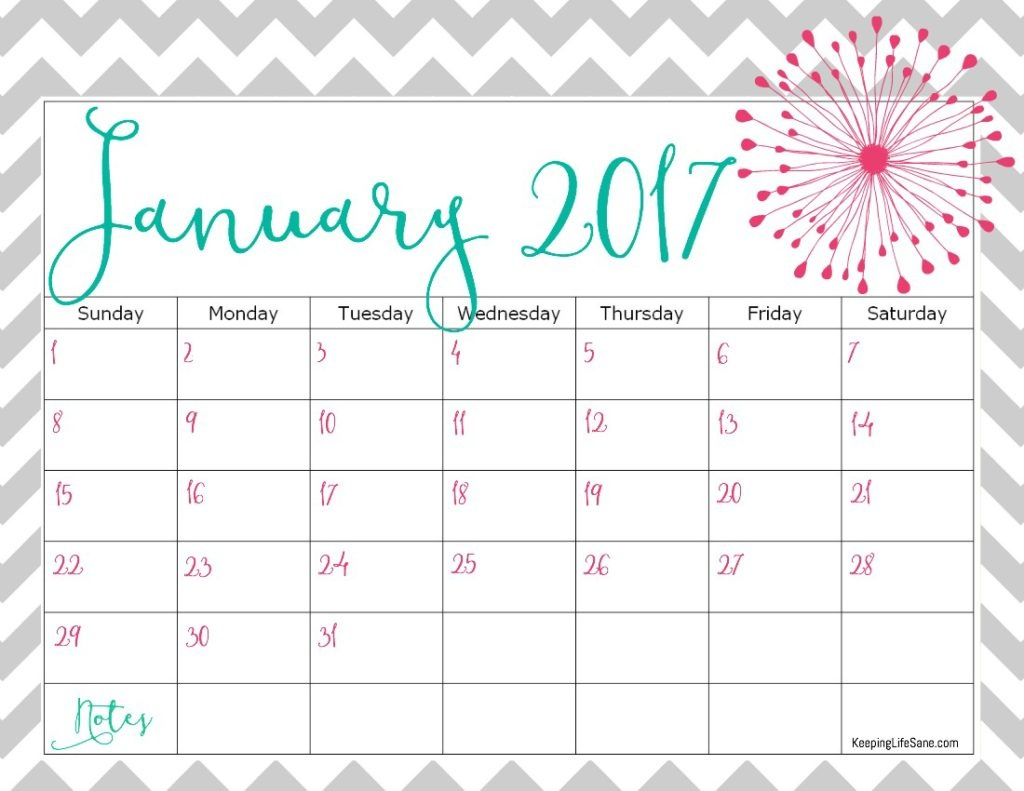 Pretty Printable Calendar 2017 - Printable Calendar & Birthday Cards - Free 2017 Printable