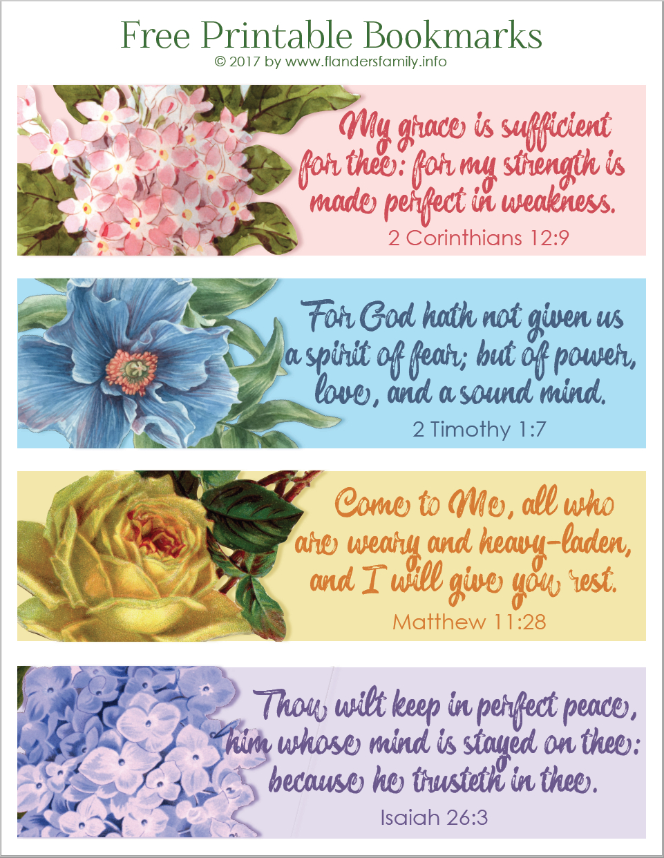 Pretty Printable Scripture Bookmarks - Flanders Family Homelife - Free Printable Inspirational Bible Verses
