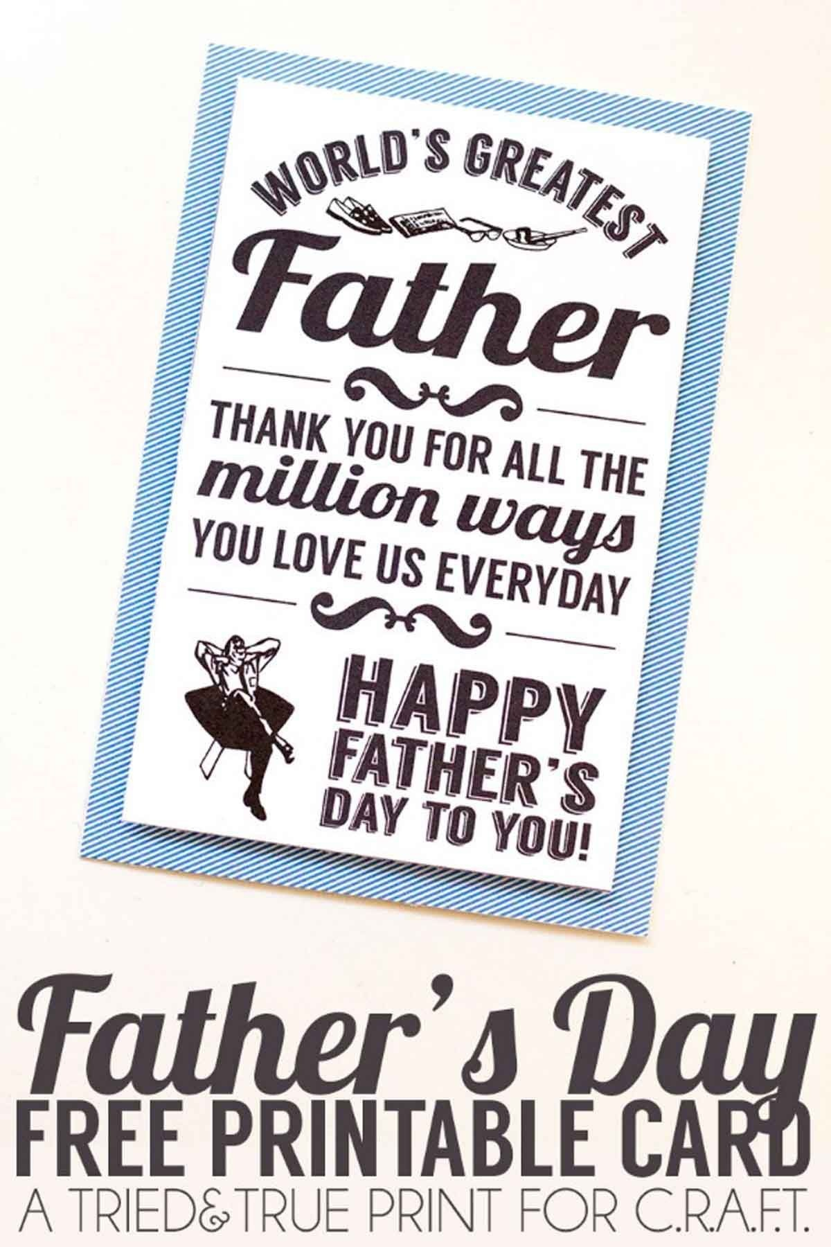 Print One Of These Free Father's Day Cards If You Forgot To Buy One - Free Printable Father's Day Card From Wife To Husband