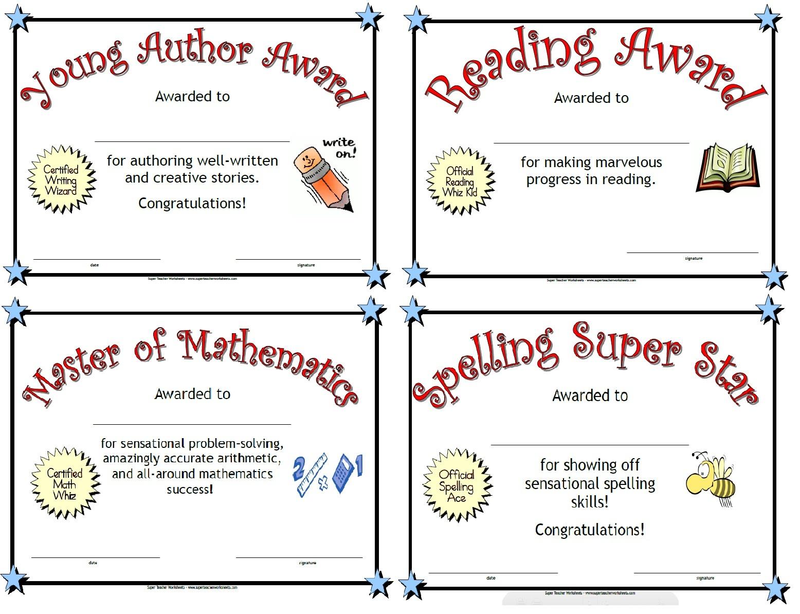 Printable Awards - Free Printable Student Award Certificate Template