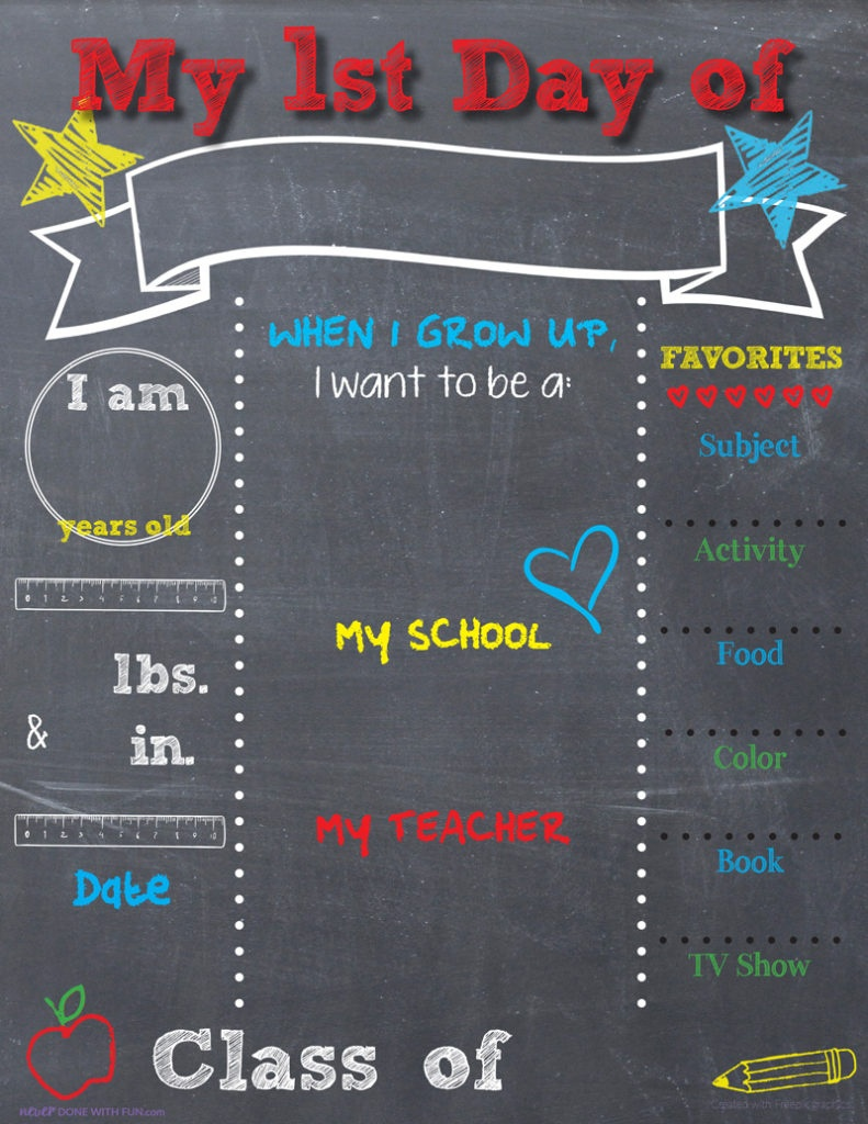 Printable Back-To-School Chalkboard Sign | #neverdonewithfun - Free Printable First Day Of School Chalkboard Signs