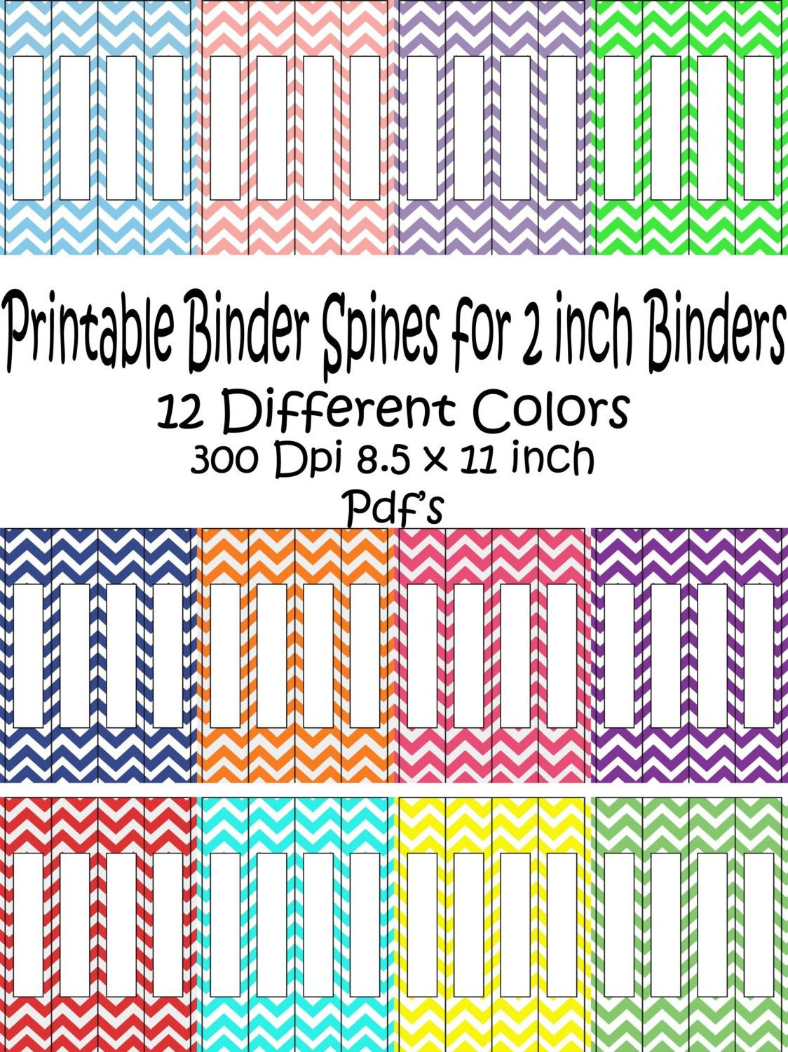 Printable Binder Spine Pack Size 2 Inch-12 Different Colors In - Free Printable Binder Covers And Spines