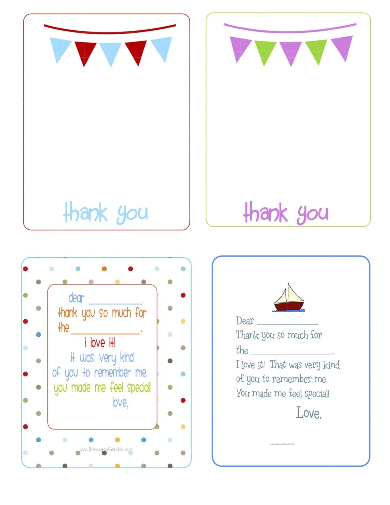 Printable Birthday Thank You Cards - | Printables & Fonts | Birthday - Free Printable Volunteer Thank You Cards