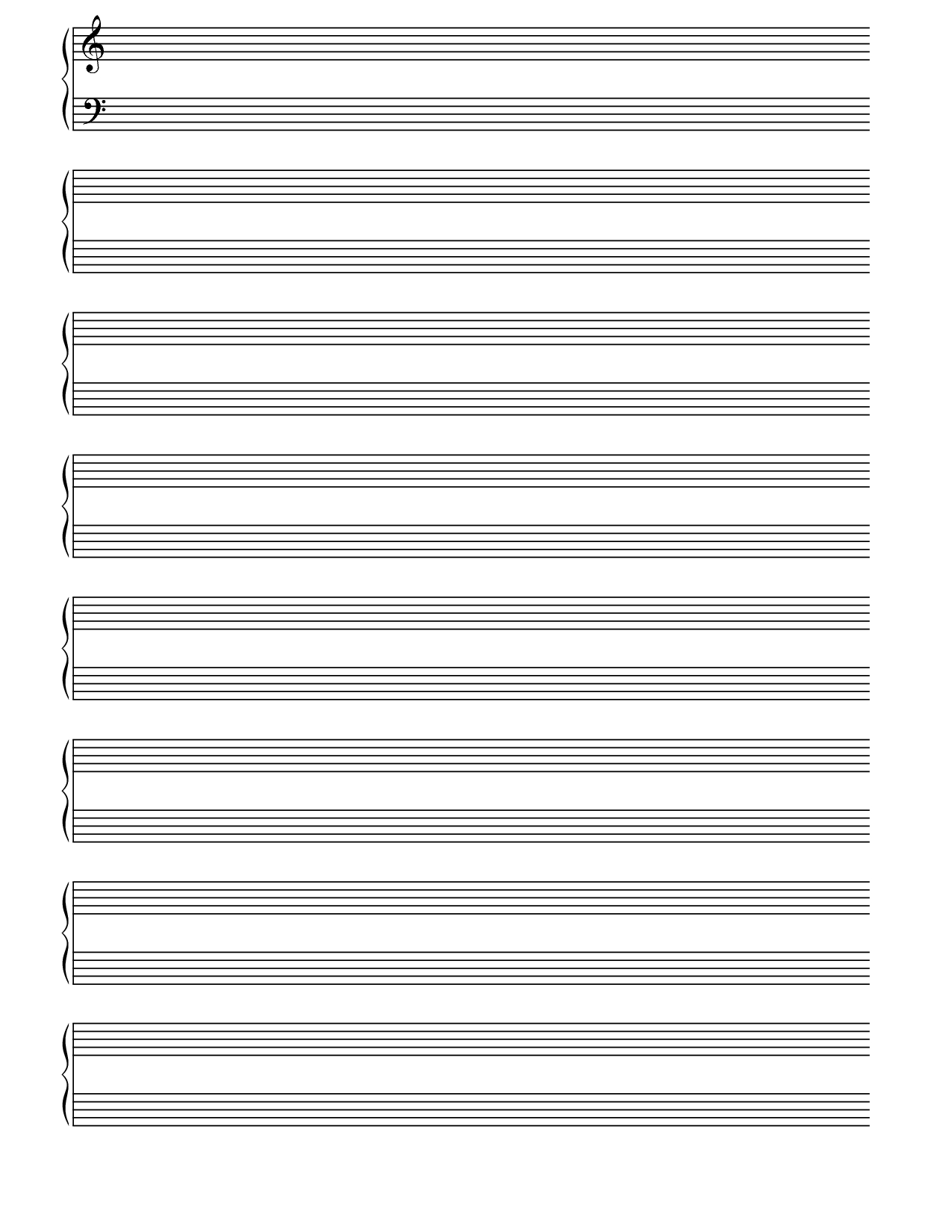 Printable Blank Piano Sheet Music Paper | Print In 2019 | Blank - Free Printable Blank Music Staff Paper