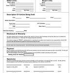 Printable Car Bill Of Sale Pdf | Bill Of Sale For Motor Vehicle   Free Printable Vehicle Bill Of Sale