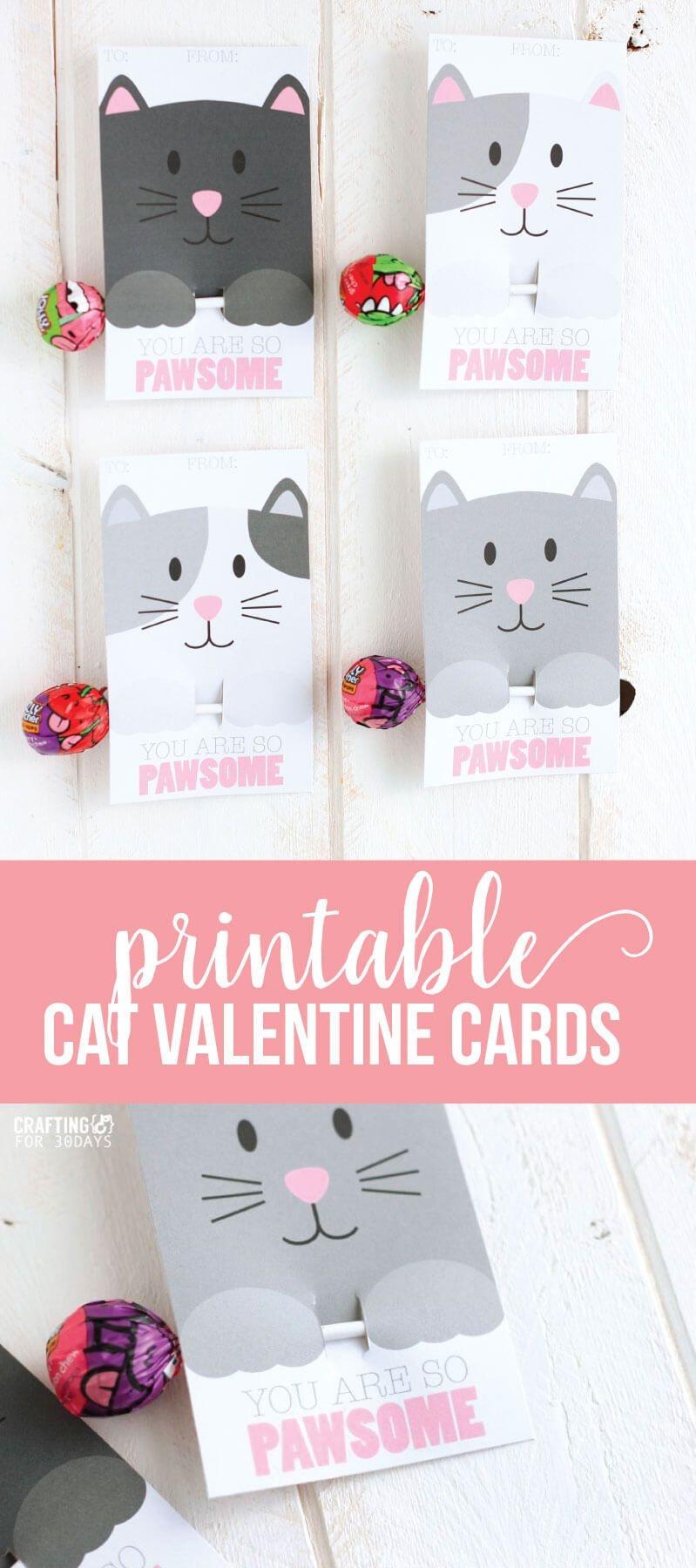 Printable Cat Valentine Day Cards | Valentine's Day Love | Diy - Free Printable Cat Valentine Cards
