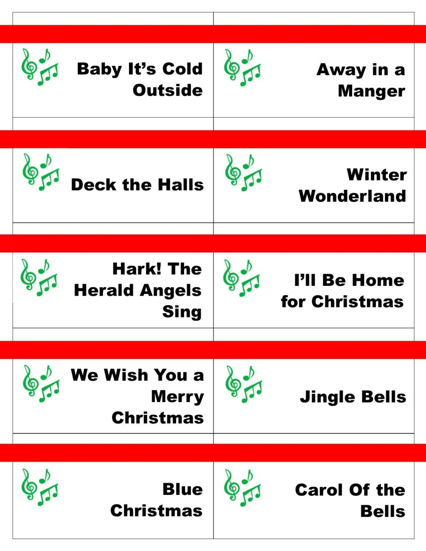 Printable Christmas Carol Game Cards For Pictionary Or - Free Printable Christmas Pictionary Cards
