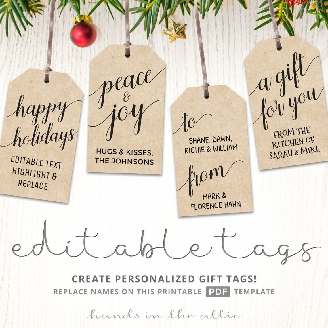Printable Christmas Gift Tags   Kraft & White   Printable Gift Tags - Free Printable Gift Tags Personalized
