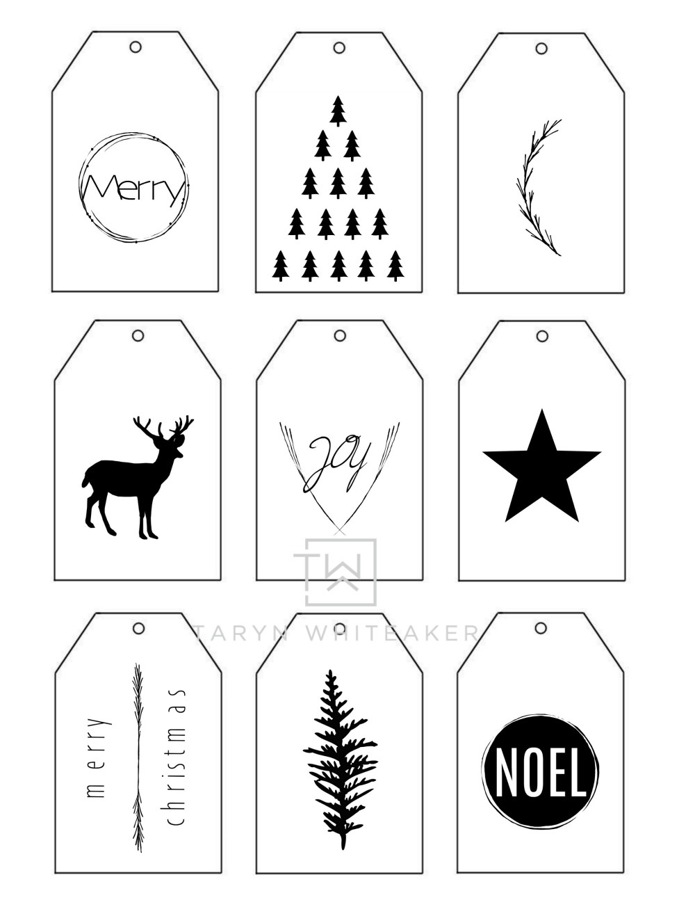 Printable Christmas Gift Tags - Taryn Whiteaker - Christmas Gift Tags Free Printable Black And White