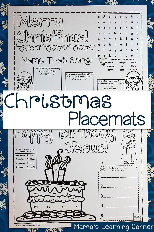 Printable Christmas Placemats | Ultimate Homeschool Board - Free Printable Christmas Placemats For Adults