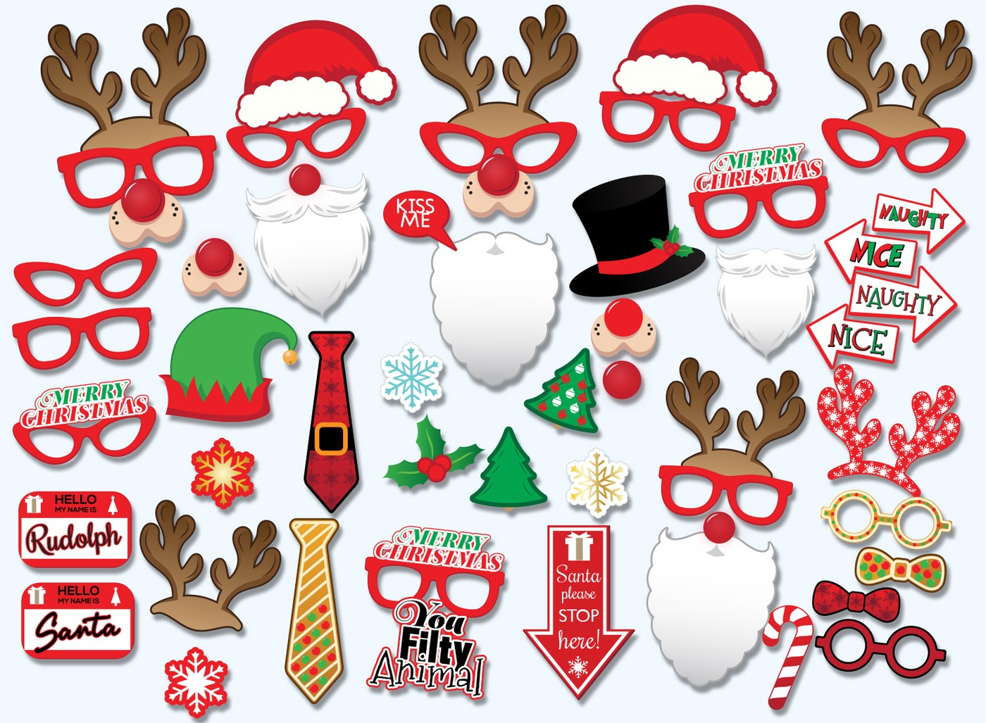 Printable Christmas Props For Pictures – Festival Collections - Free Printable Christmas Props