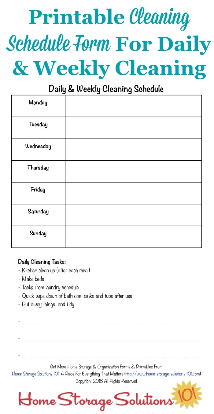 Printable Cleaning Schedule Form For Daily & Weekly Cleaning - Free Printable Cleaning Schedule
