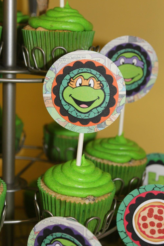 Printable Cupcake Toppers Teenage Mutant Ninja Turtle Birthday - Free Printable Teenage Mutant Ninja Turtle Cupcake Toppers