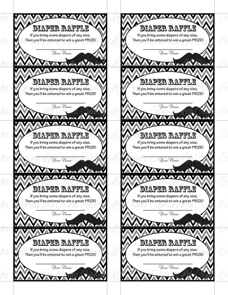 Printable Diaper Raffle Tickets Baby Shower Instant Download   Etsy - Free Printable Diaper Raffle Tickets Black And White