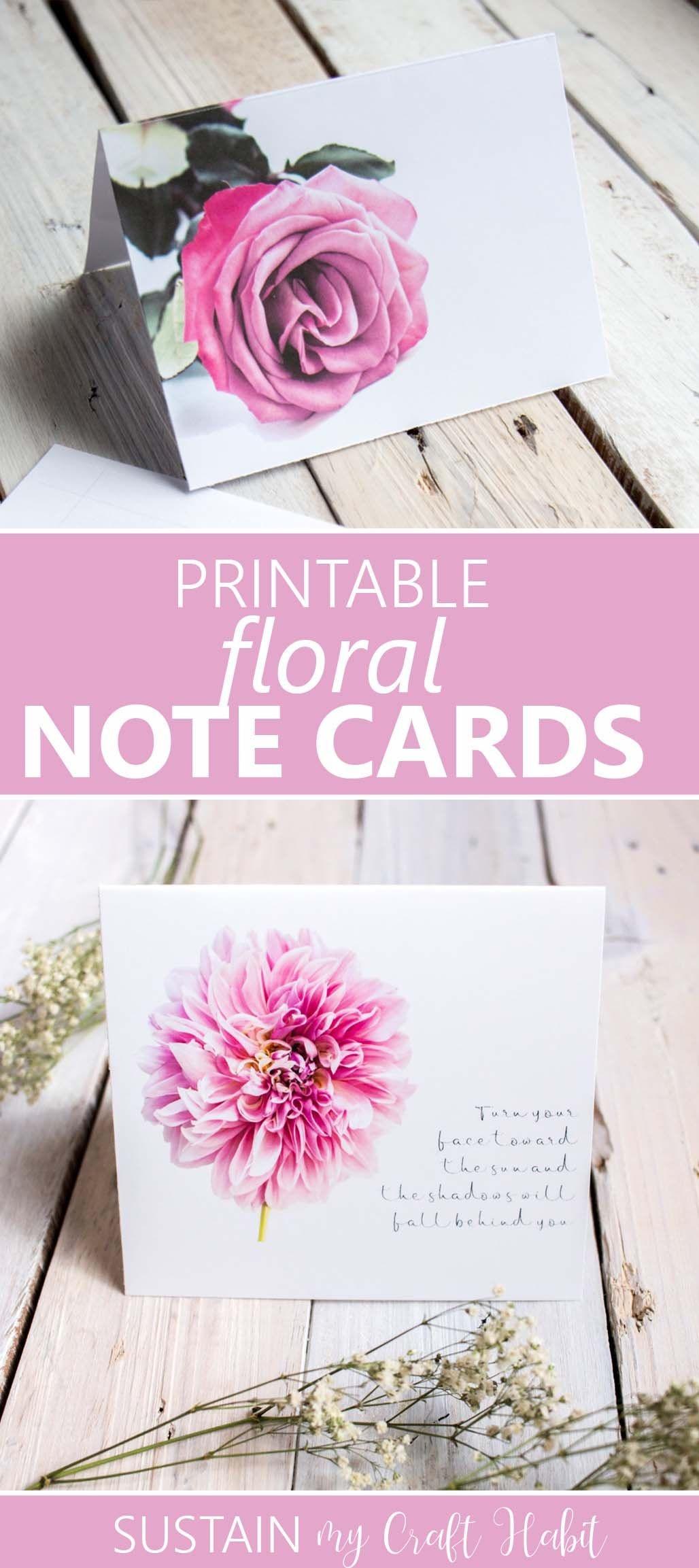 Printable Floral Note Cards | Free Printables  | Pinterest - Free Printable Note Cards