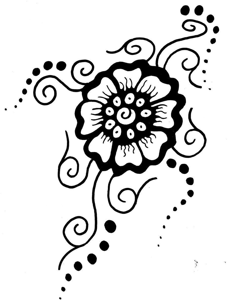 Printable Flower Stencil Patterns | Mehndi Flower - Free Printable Henna Tattoo Designs