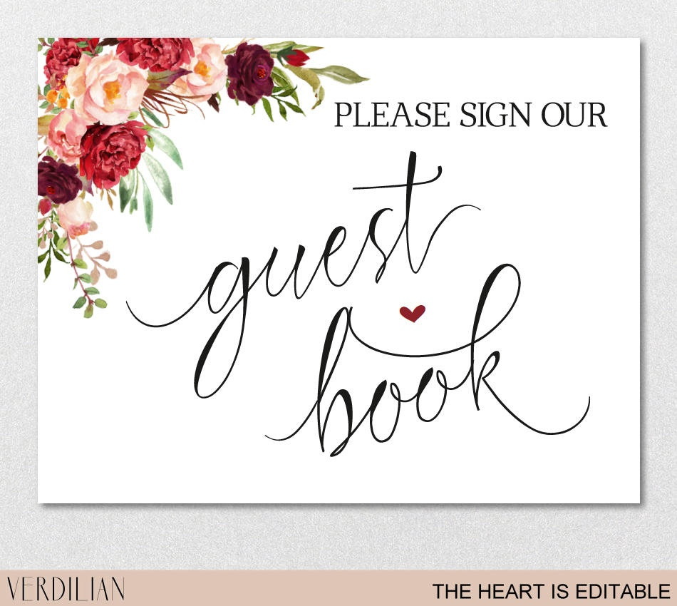 Printable Guest Book Templates - Tutlin.psstech.co - Please Sign Our Guestbook Free Printable