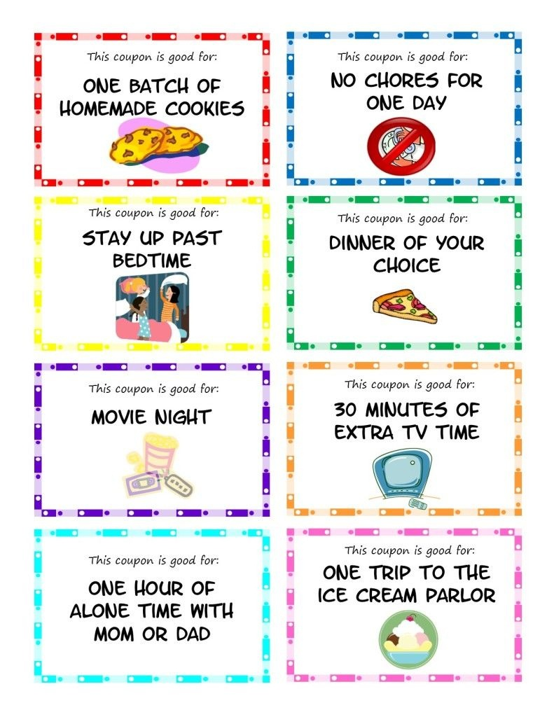 Printable Kid Coupons - This Would Make A Great Reward For Good - Create Your Own Coupon Free Printable