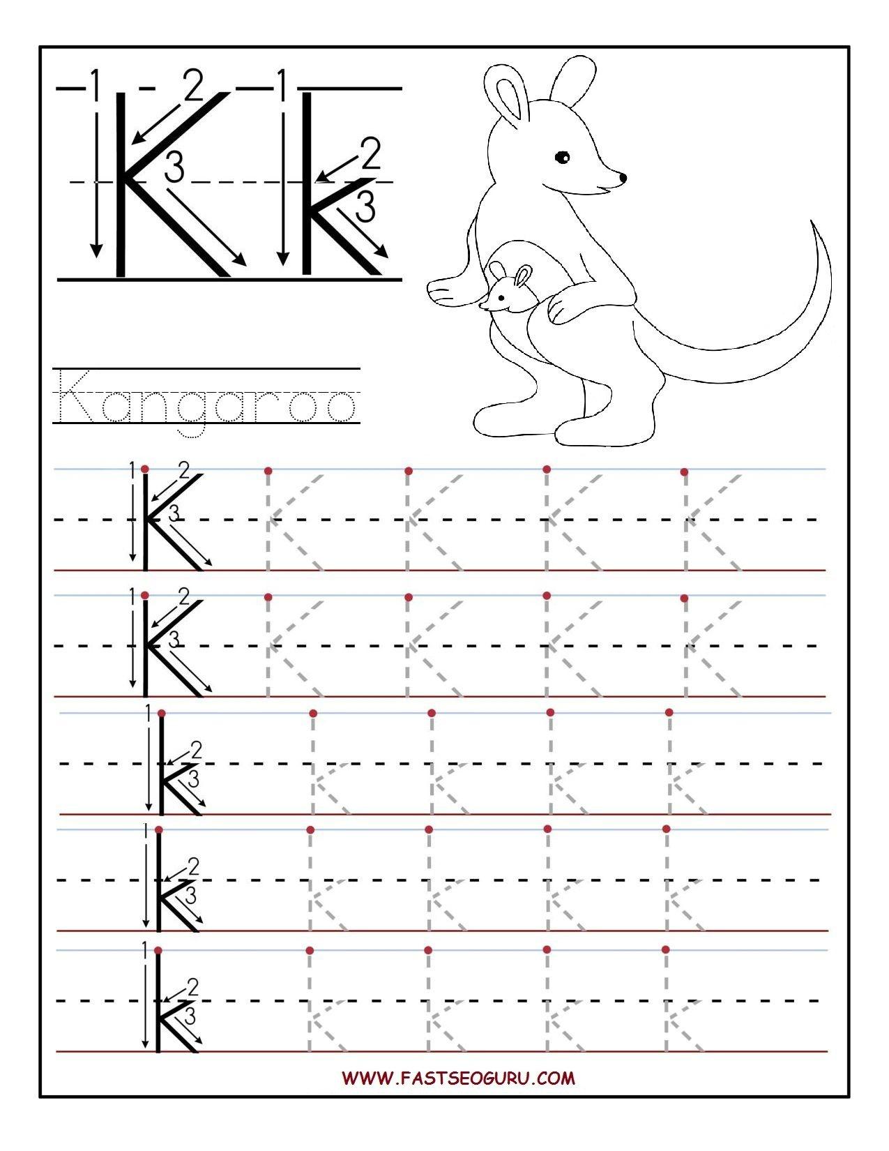 Printable Letter K Tracing Worksheets For Preschool | Learning - Free Printable Letter K Worksheets