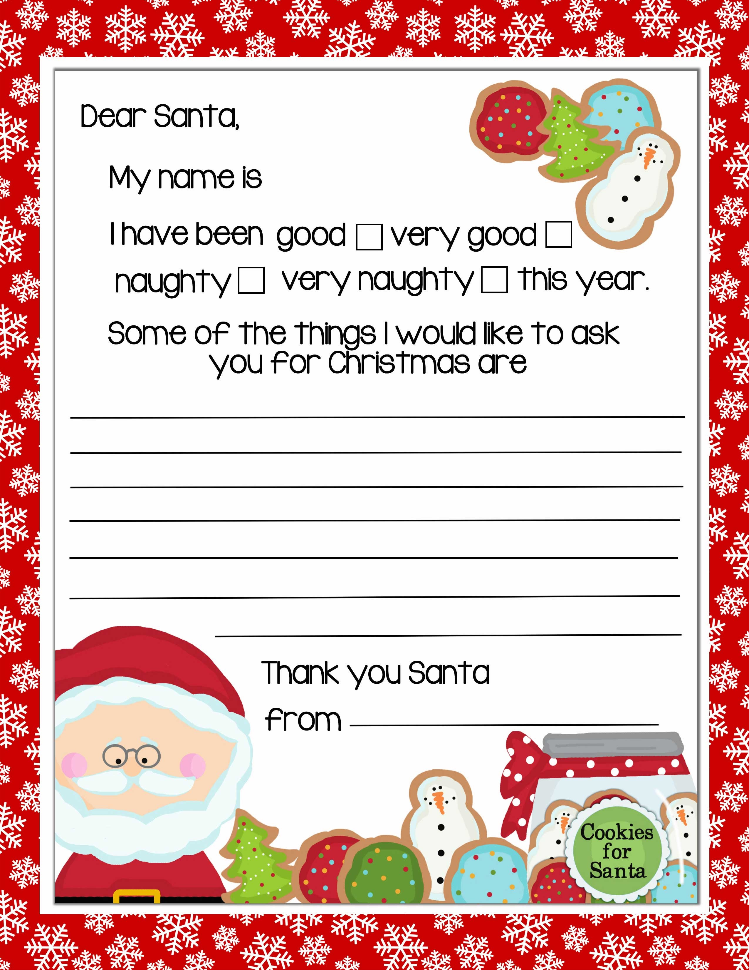 Printable Letter To Santa With Christmas Cookies - Letter To Santa Template Free Printable