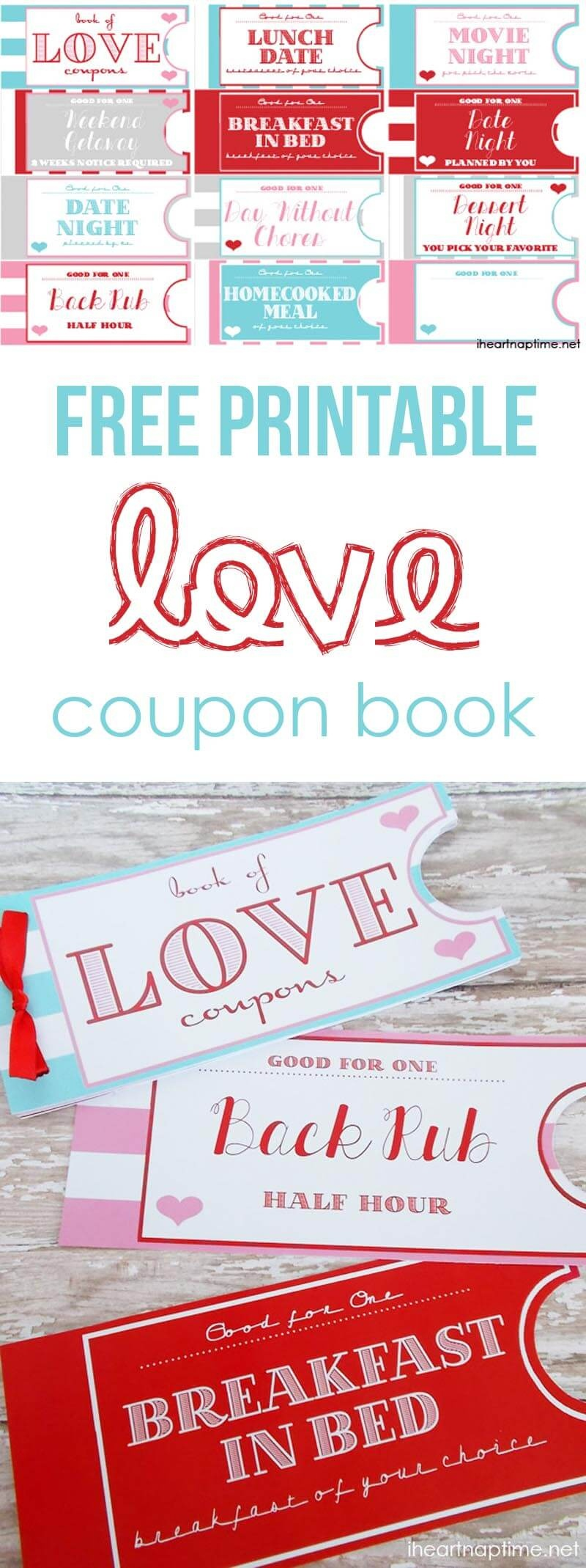 Printable Love Coupon Book -The Perfect Valentine's Day Gift! - Free Printable Love Coupons