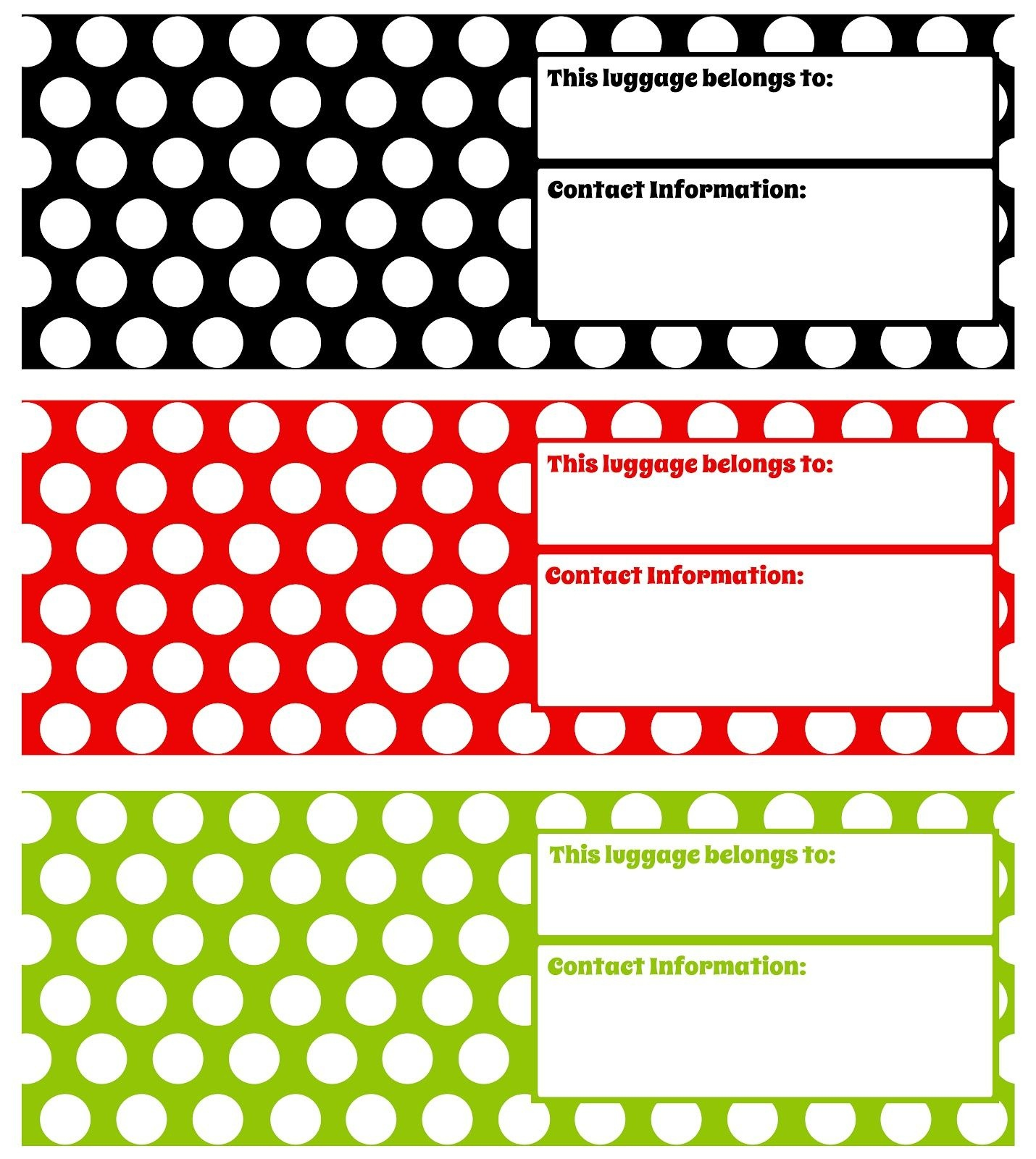 Printable Luggage Tags - Darling Doodles | Darling Doodles | Misc - Free Printable Luggage Tags