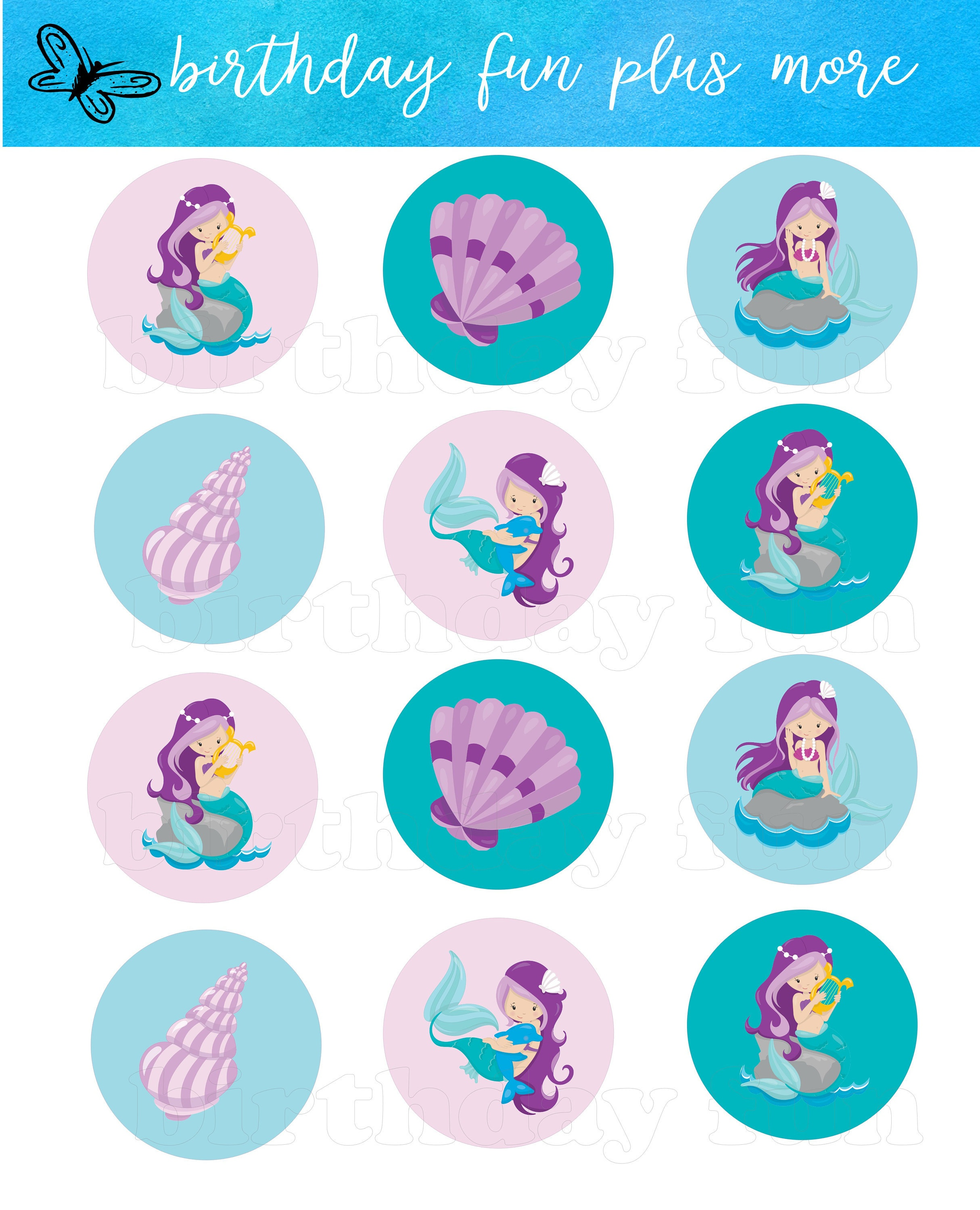 Printable Mermaid Cupcake Toppers Digital Mermaid Rounds | Etsy - Free Printable Mermaid Cupcake Toppers
