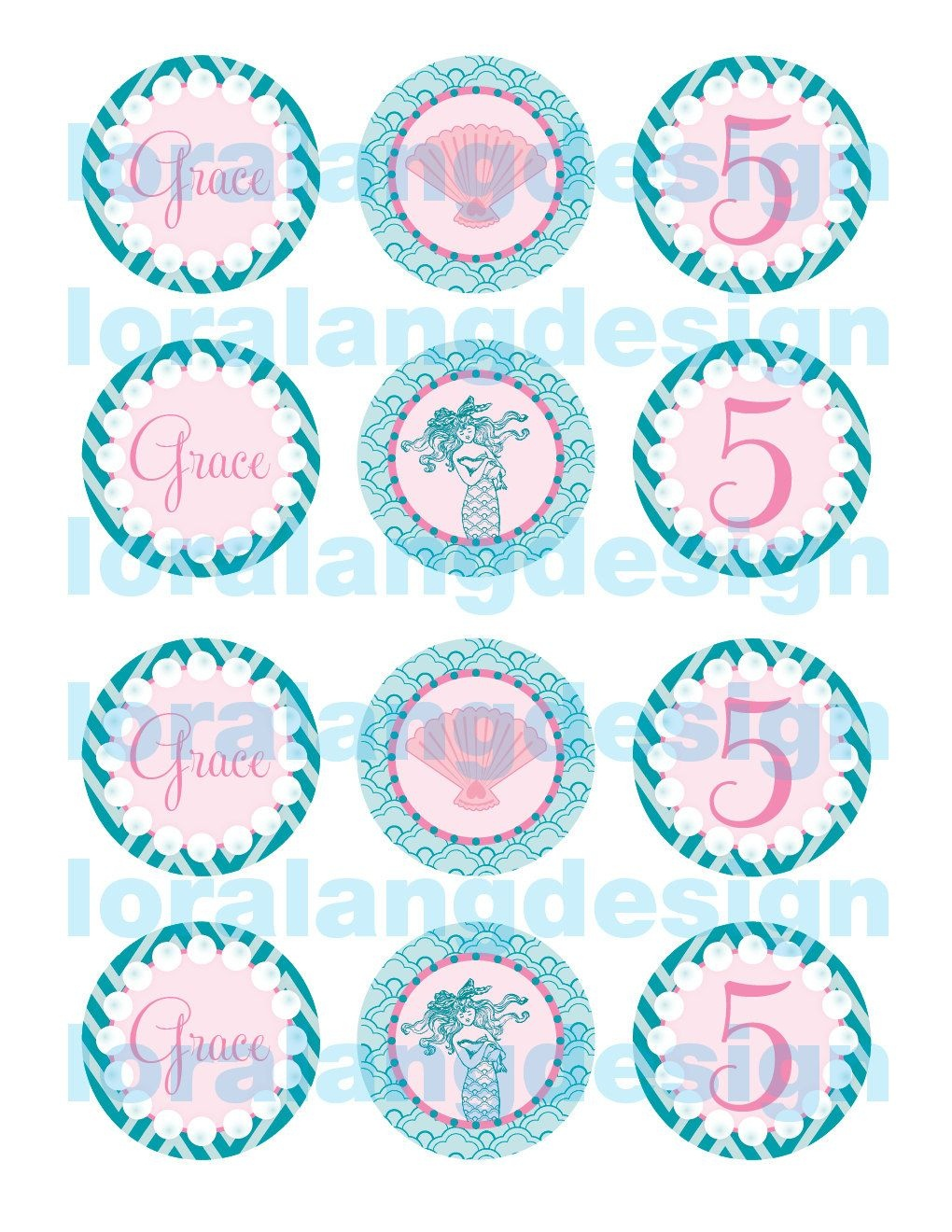 Printable Mermaid Cupcake Toppers Favors | Eg's 4Th Birthday - Free Printable Mermaid Cupcake Toppers
