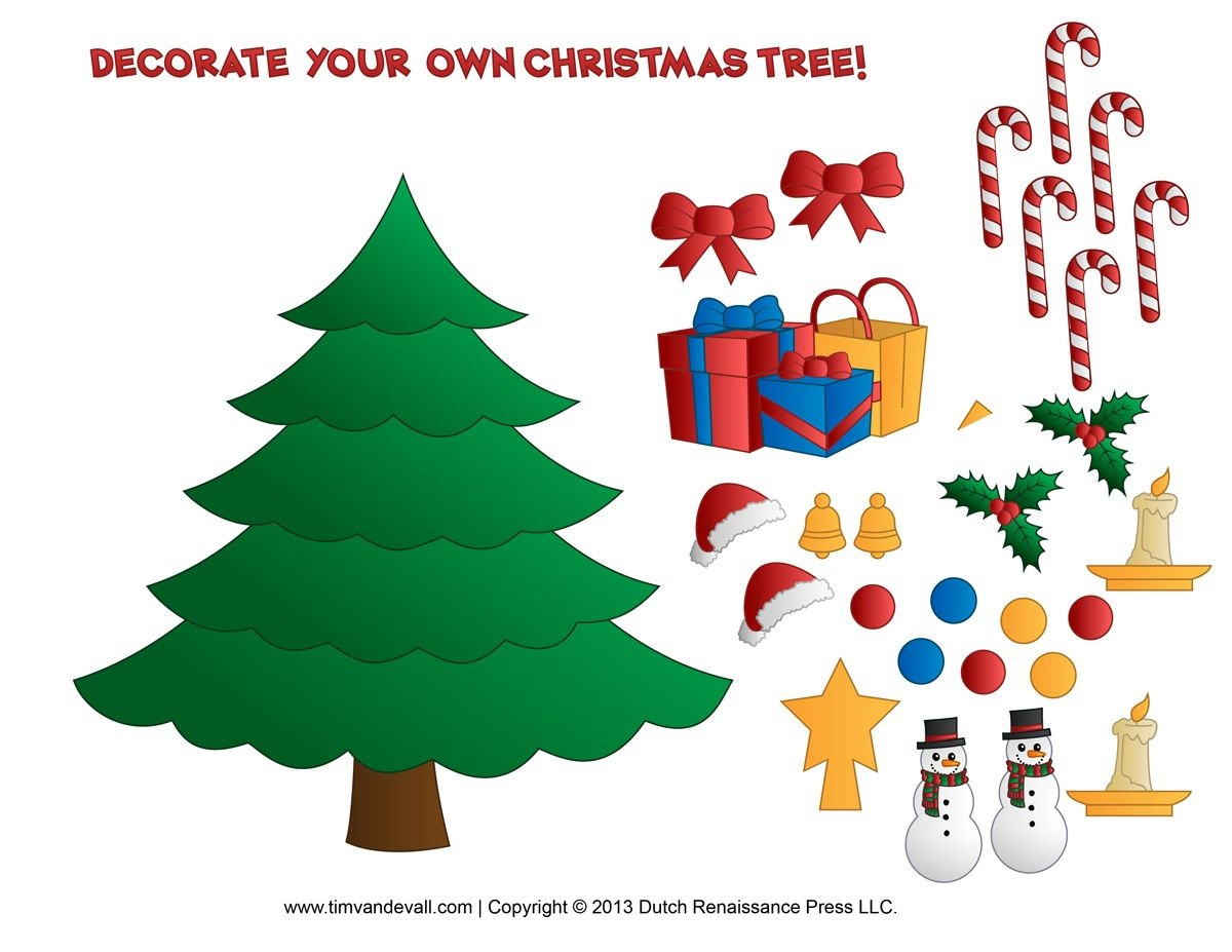 Printable Paper Christmas Tree Template, Clip Art, & Coloring Pages - Free Printable Christmas Tree Ornaments Coloring Pages