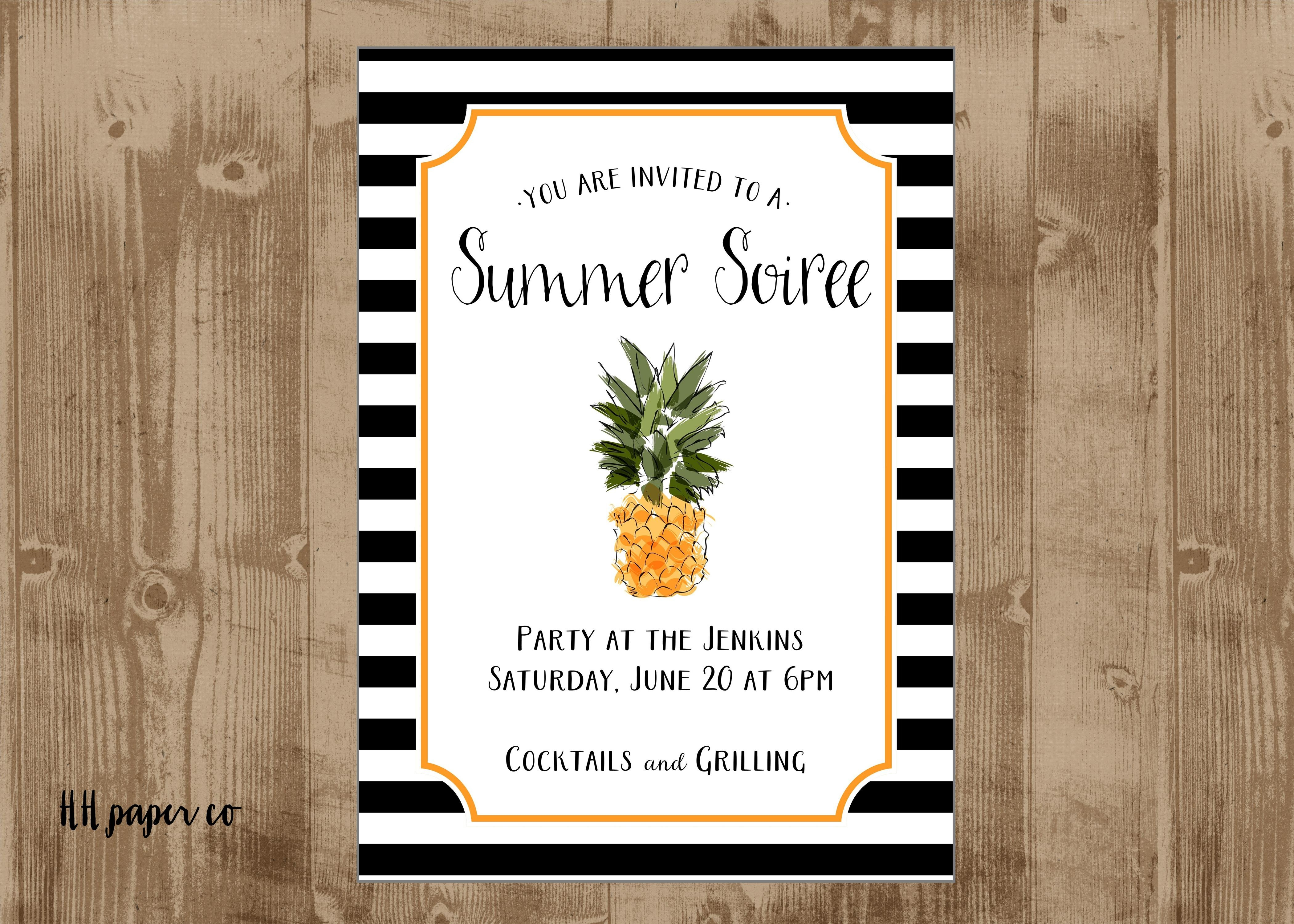 Printable Pineapple Invite – Black And White Stripes – Summe Soiree - Free Printable Pineapple Invitations