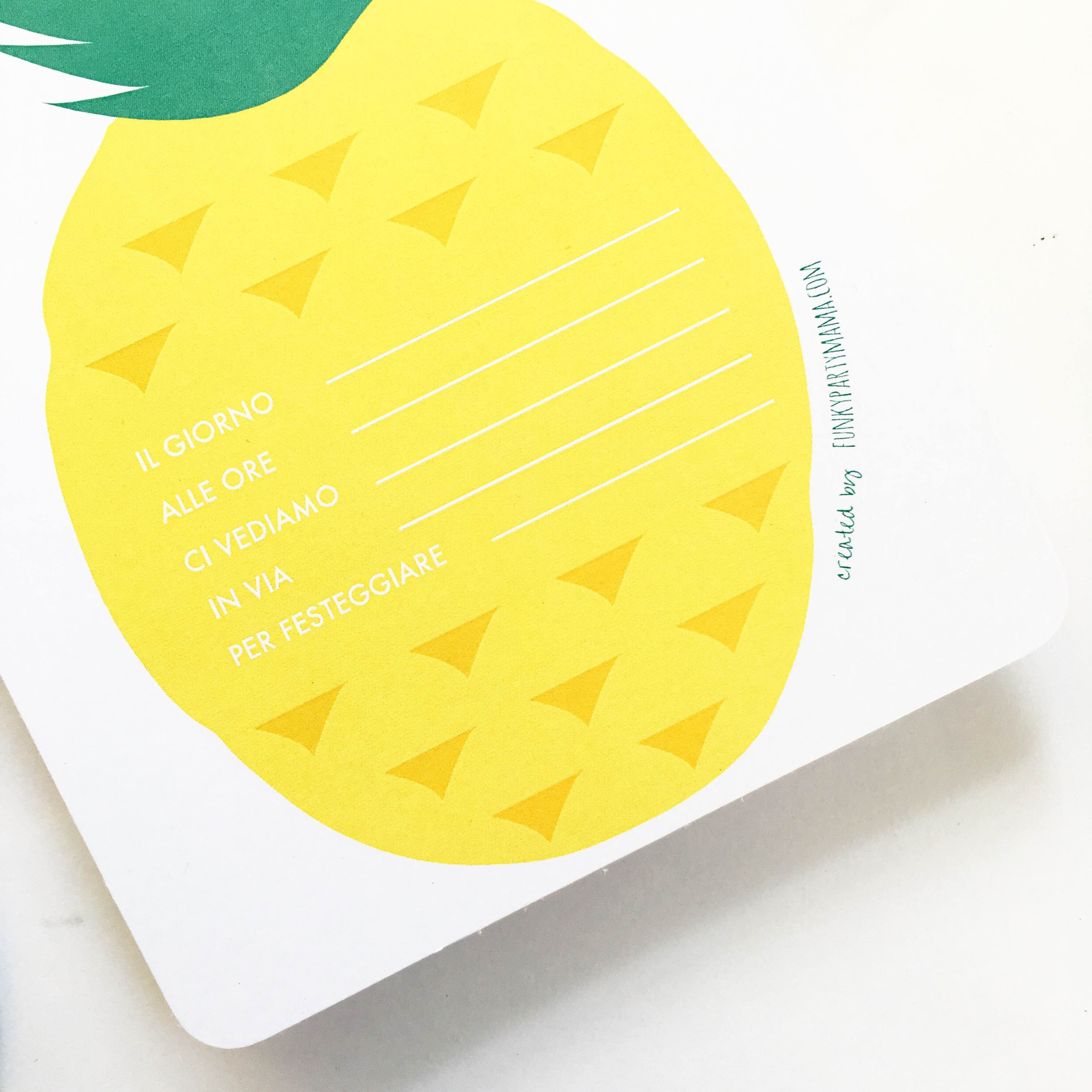 Printable Pineapple Party - Le Civette Sul Comò - Free Printable Pineapple Invitations