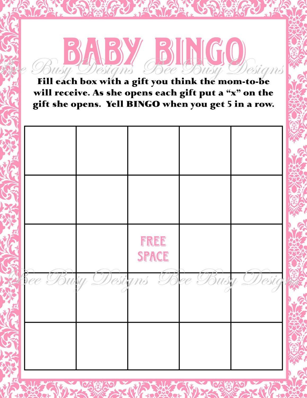 Printable Pink Damask Baby Shower Bingo Game Instant Download   Baby - Free Printable Baby Shower Bingo Cards Pdf