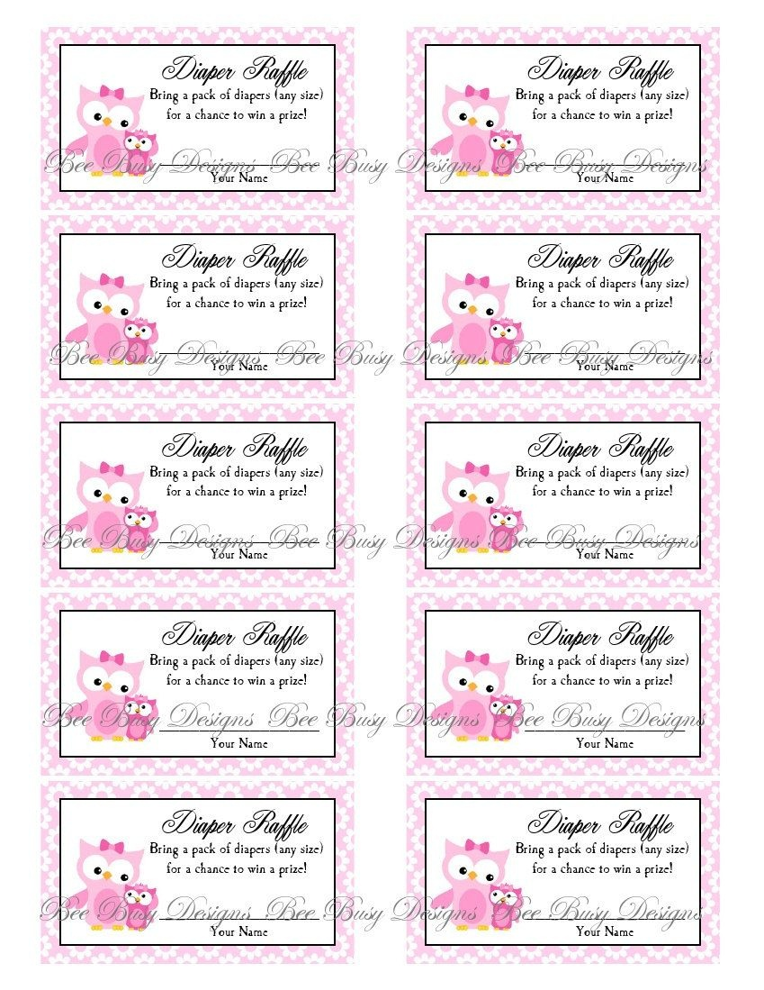 Printable Pink Mom With Little Girl Owl Diaper Raffle Tickets | Free - Diaper Raffle Free Printable