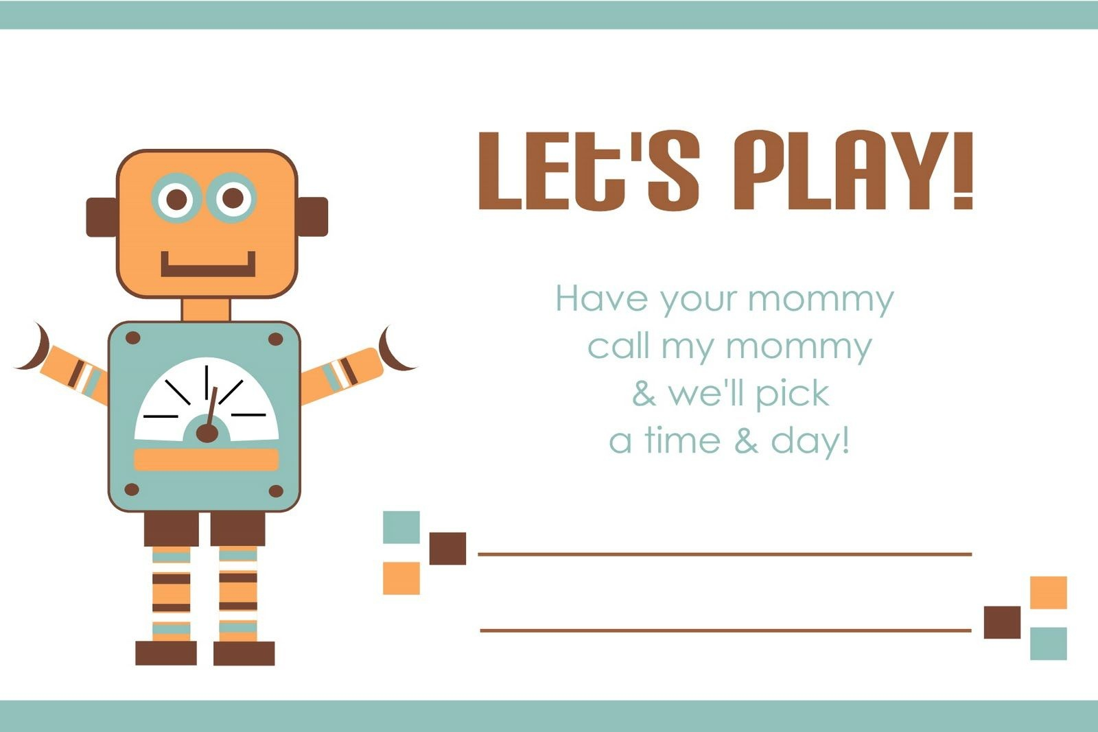 Printable Play Date Card | Printables | Kids Cards, Fun Projects For - Free Printable Play Date Cards