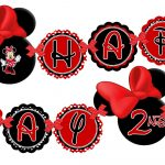 Printable Red Minnie Mouse Happy Birthday Banner, Minnie Mouse Red   Free Printable Mickey Mouse Birthday Banner