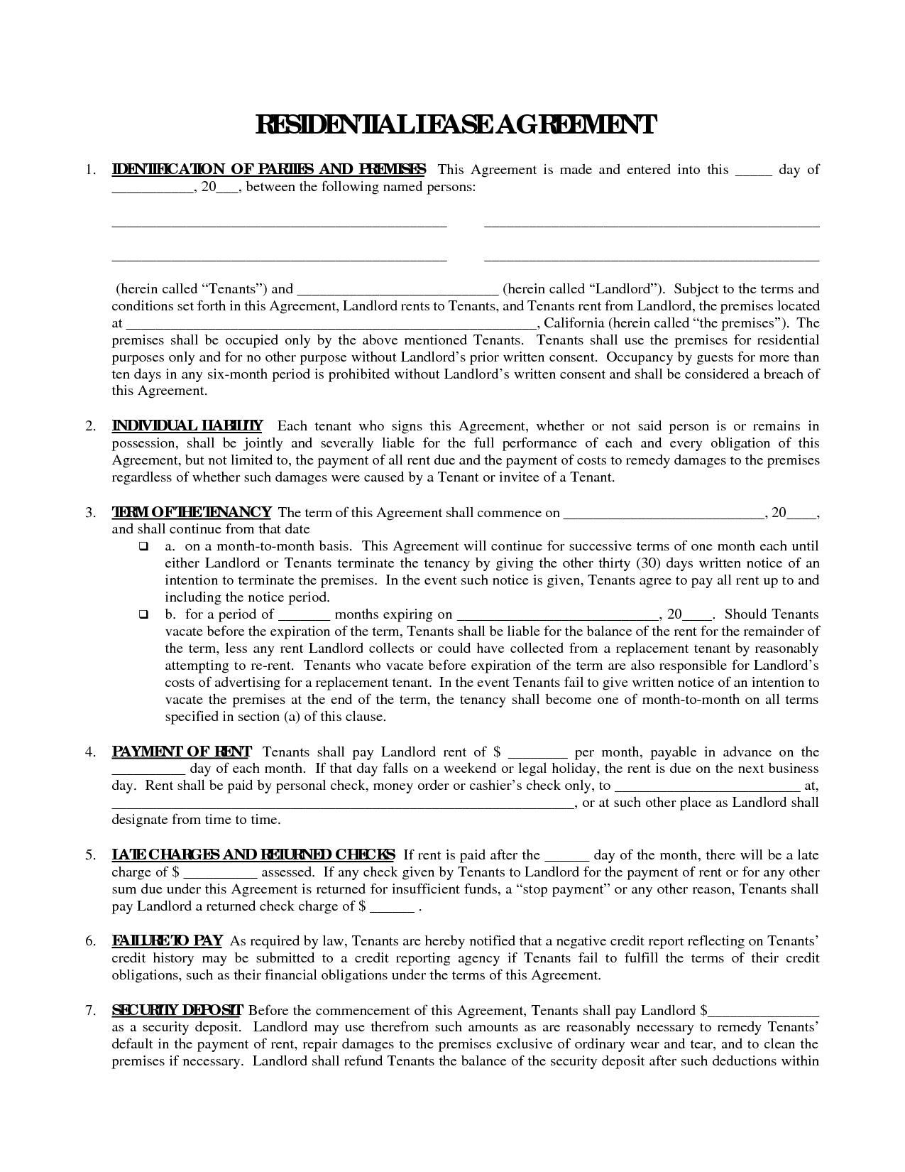 Printable Residential Free House Lease Agreement | Residential Lease - Apartment Lease Agreement Free Printable