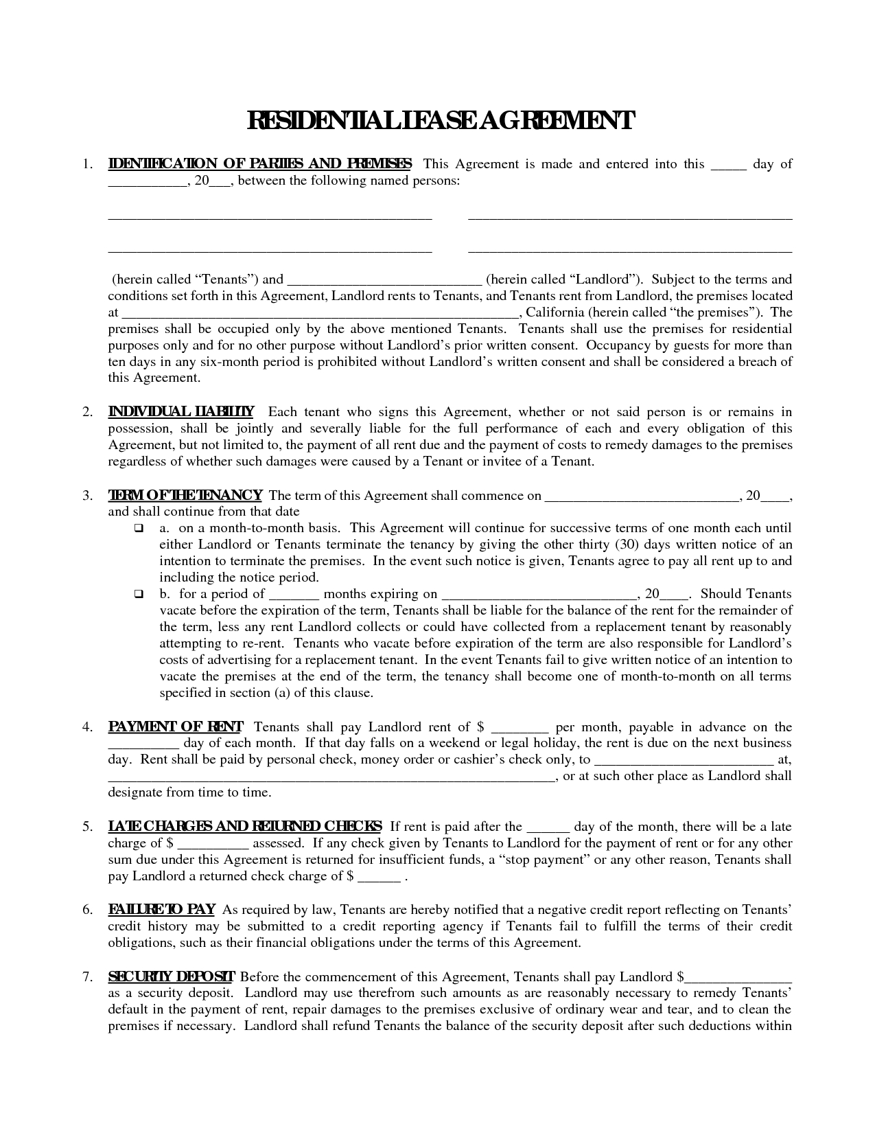 Printable Residential Free House Lease Agreement | Residential Lease - Free Printable Landlord Forms