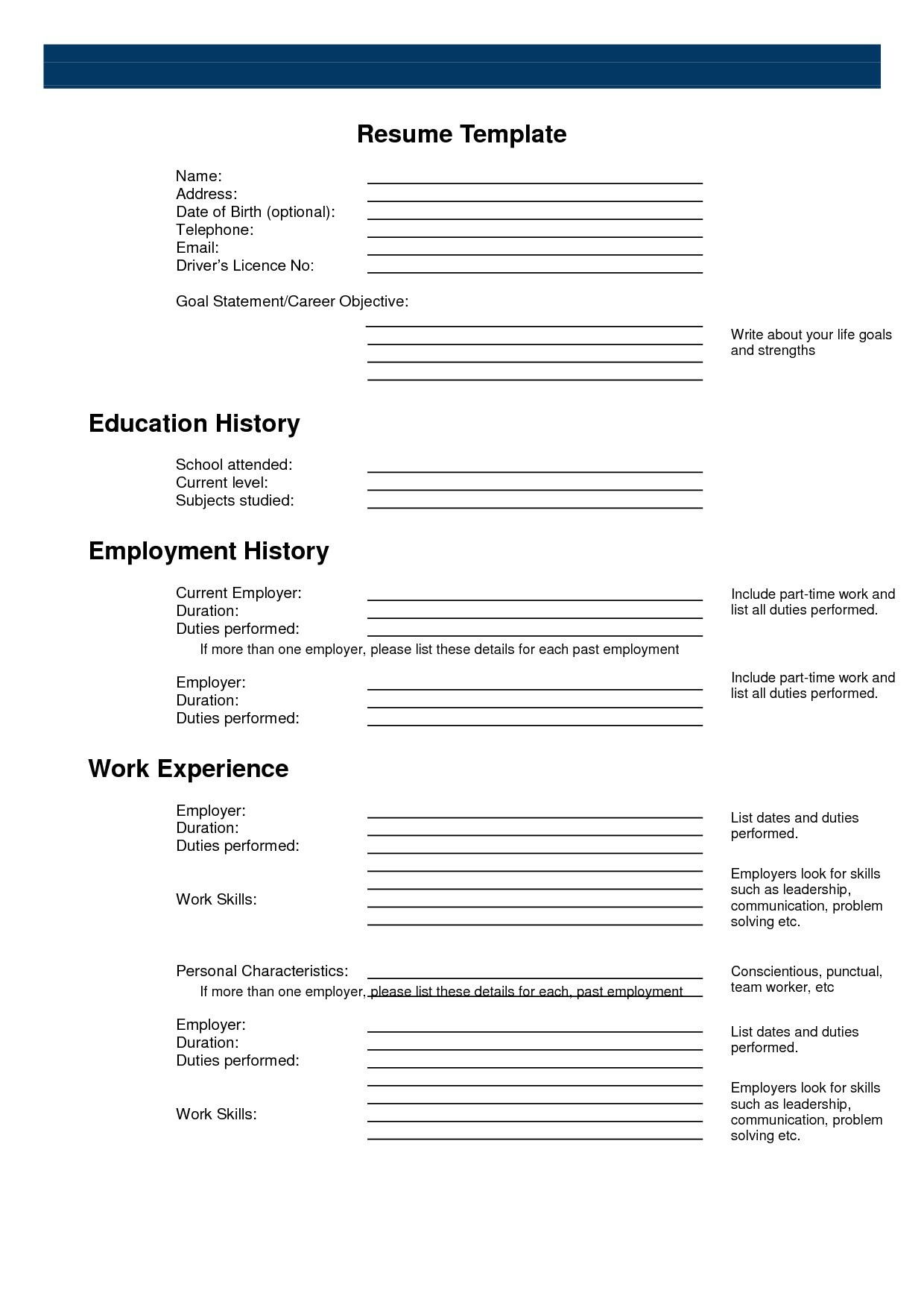Printable Resume Form Surprising Inspiration Templates 2 Sample - Free Blank Resume Forms Printable