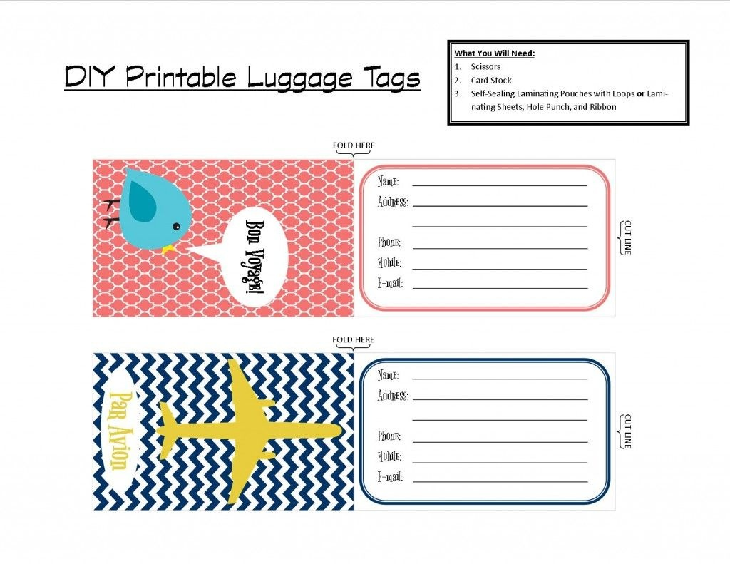 Printable Tags | With That In Mind, I've Created A Set Of Two - Free Printable Luggage Tags